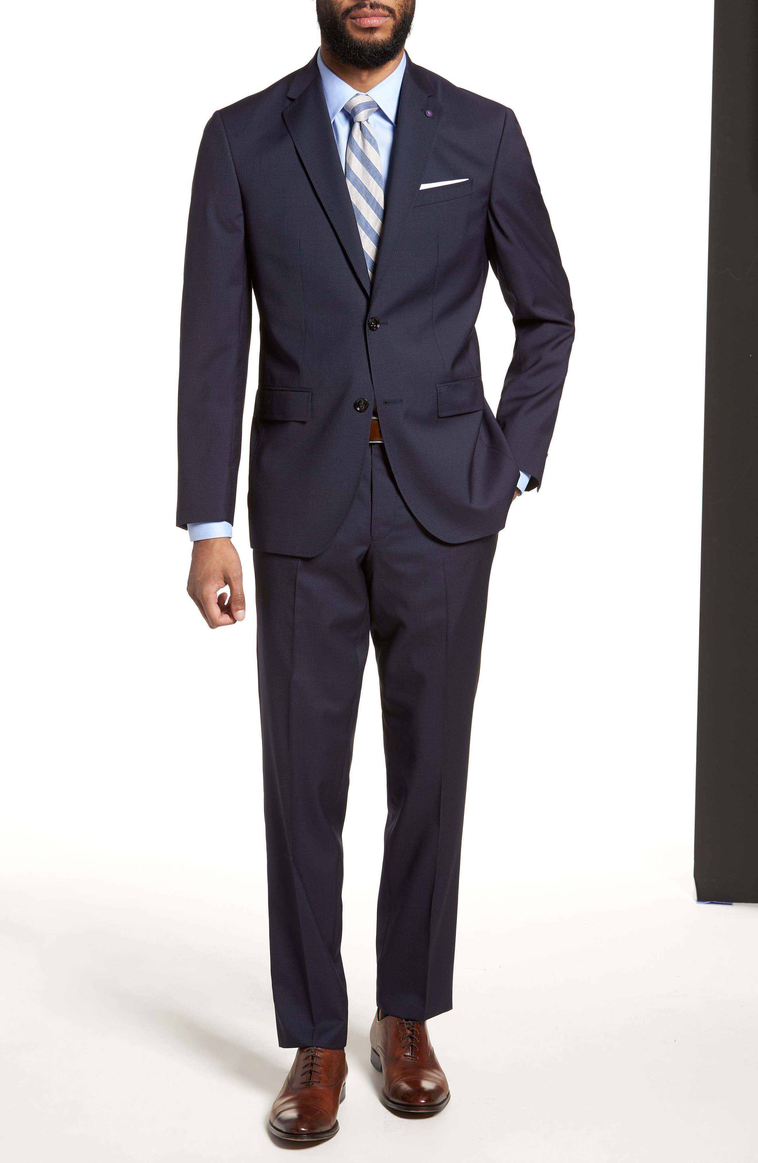 Jay Trim Fit Stripe Wool Suit,                             Alternate thumbnail 6, color,                             NAVY
