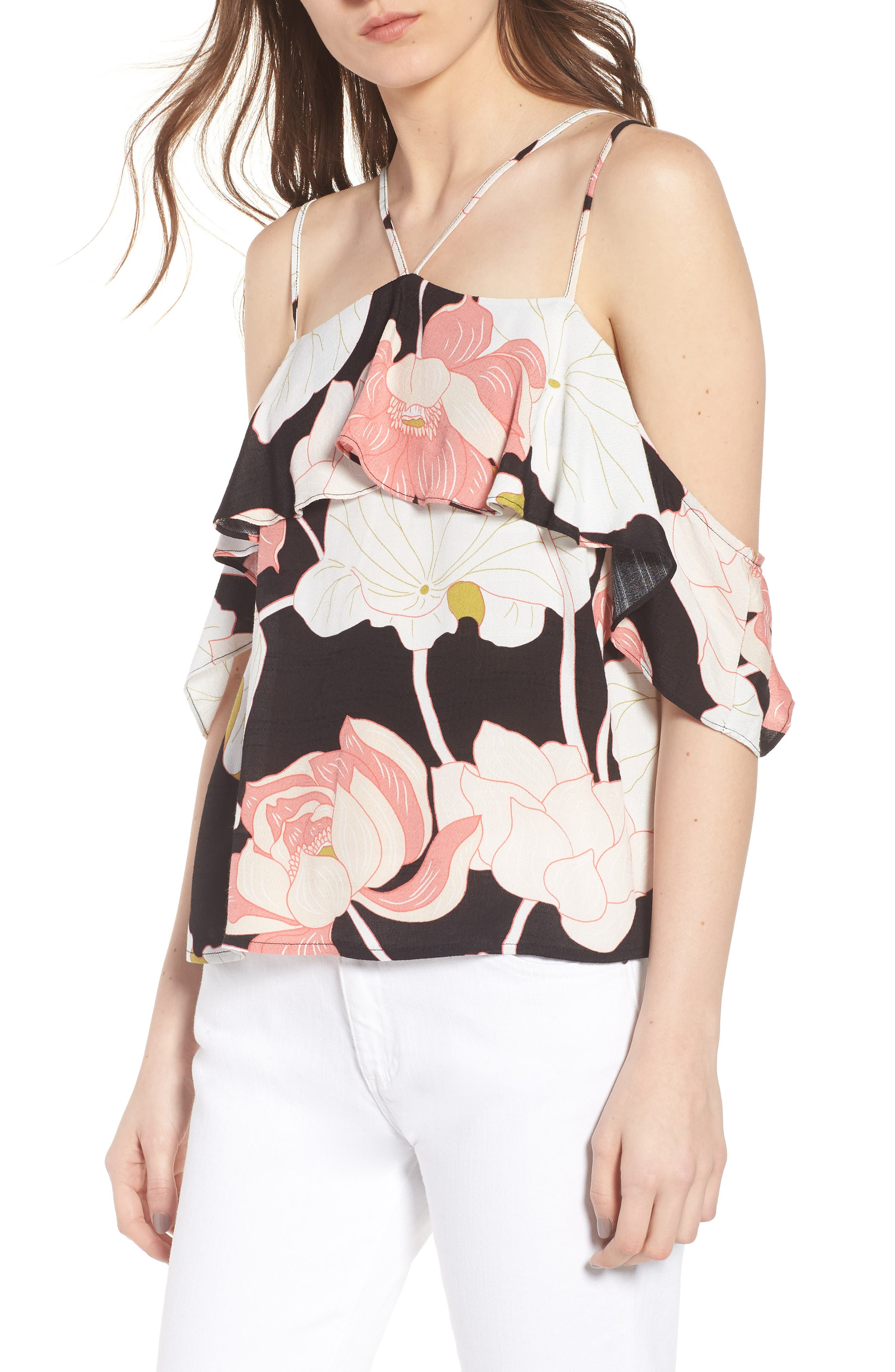 CUPCAKES AND CASHMERE Bixby Water Lilies Cold Shoulder Top, Main, color, 001