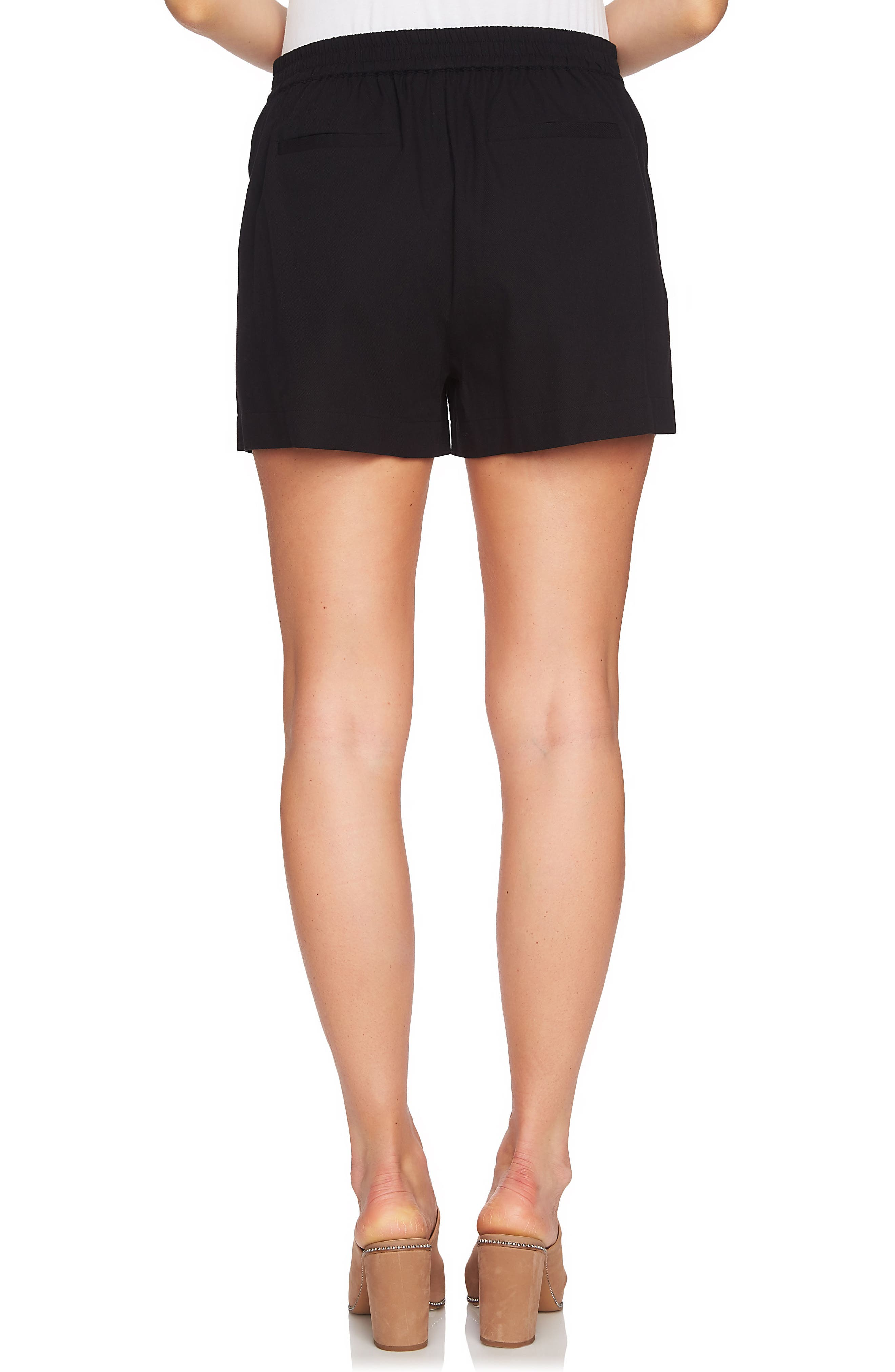Lace-Up Detail Flat Front Shorts,                             Alternate thumbnail 2, color,                             001
