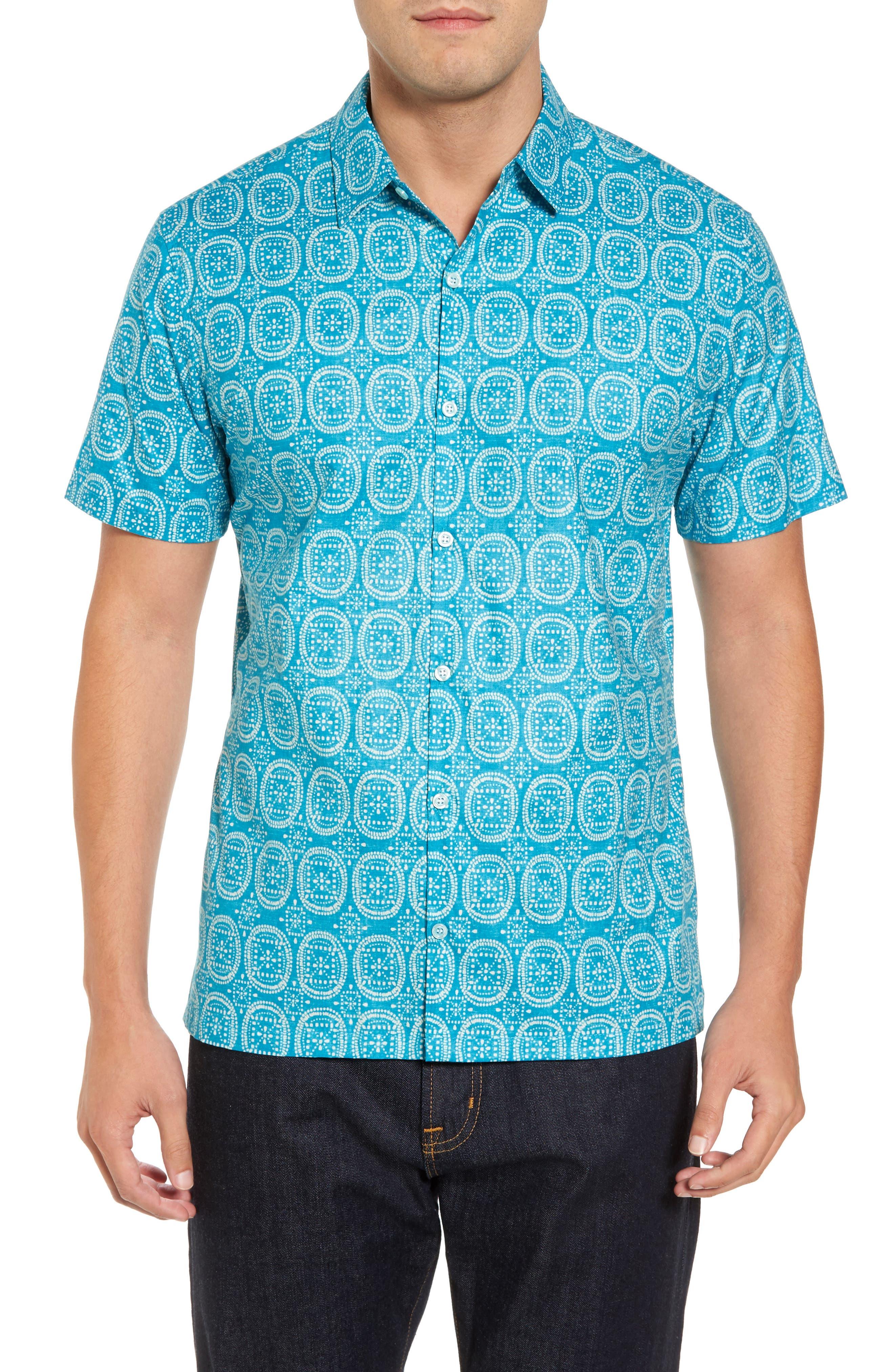 Sea Biscuits Trim Fit Print Sport Shirt,                         Main,                         color, 470