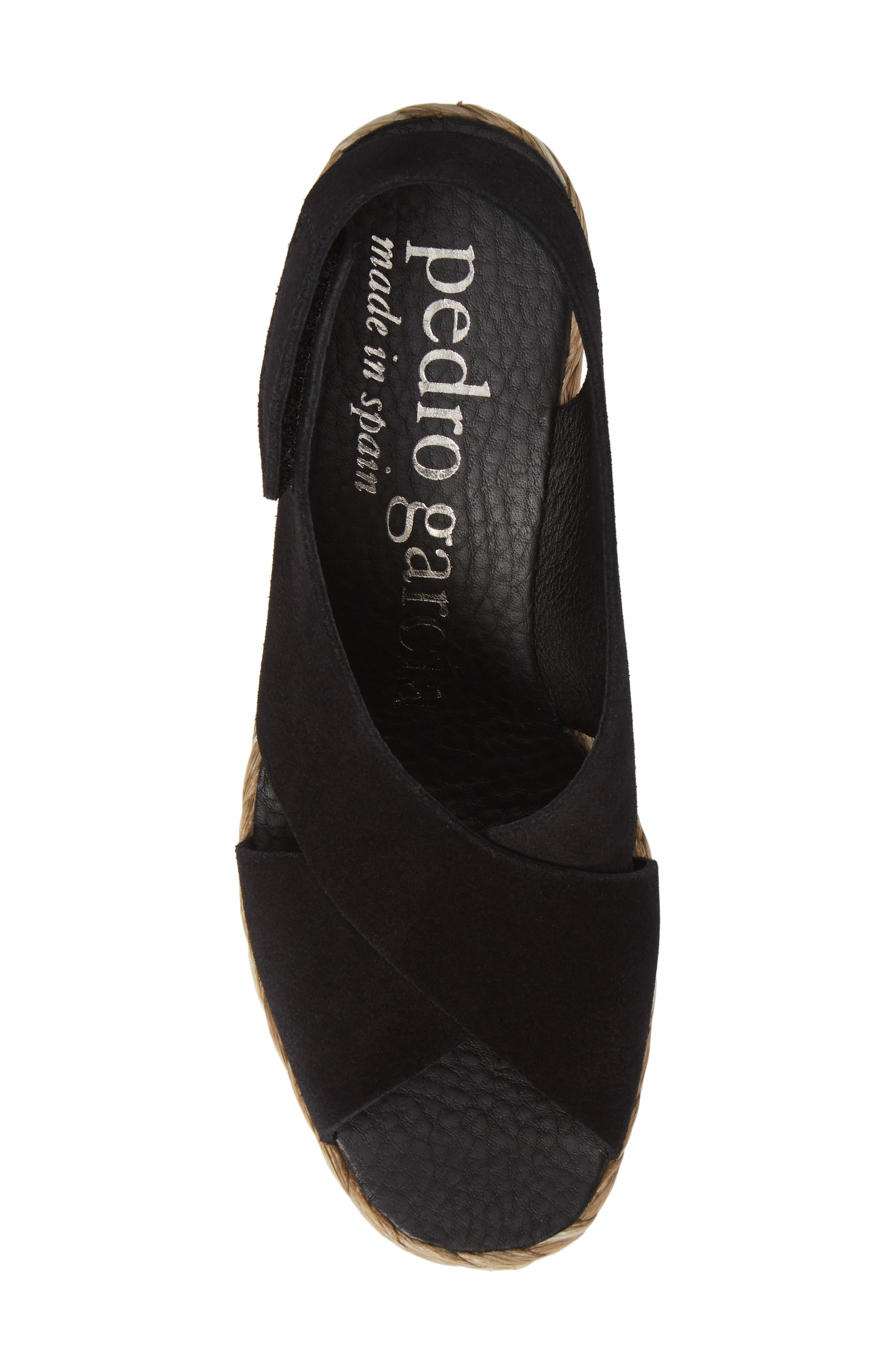 'Federica' Wedge Sandal,                             Alternate thumbnail 5, color,                             BLACK CASTORO/ RAFFIA