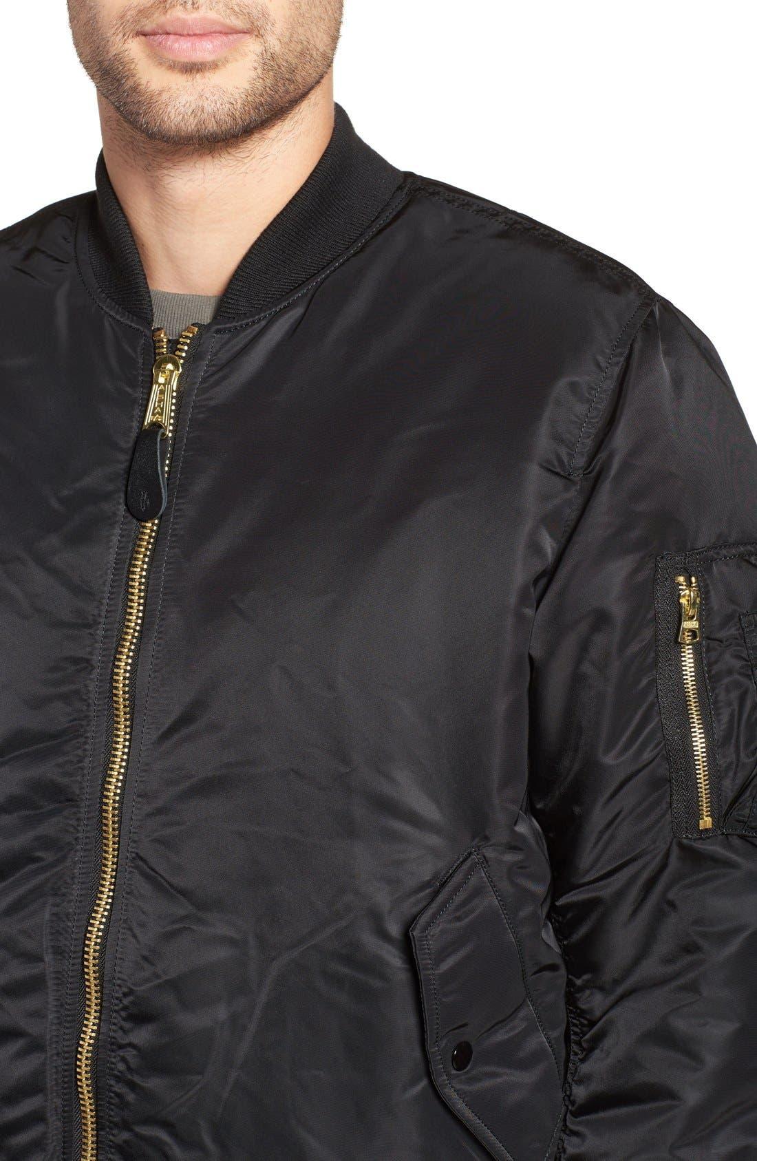 'MA-1' Slim Fit Bomber Jacket,                             Alternate thumbnail 2, color,                             BLACK