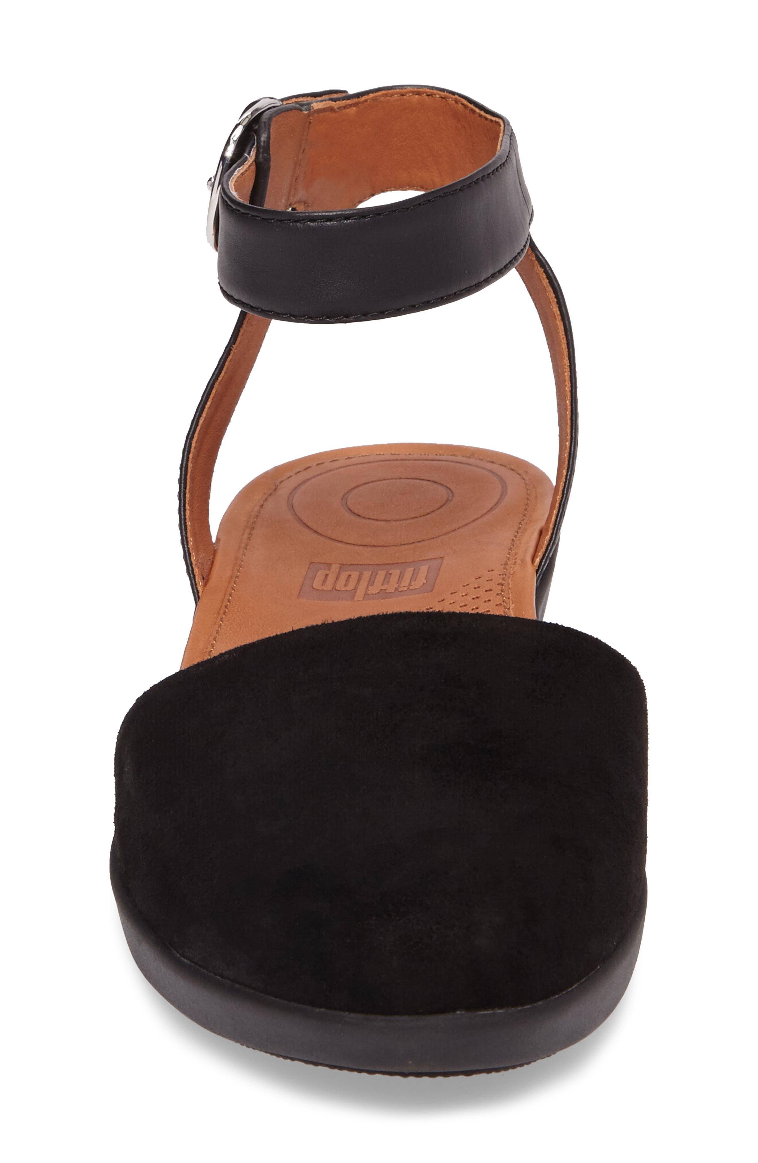 Cova Ankle Strap Sandal,                             Alternate thumbnail 4, color,                             001