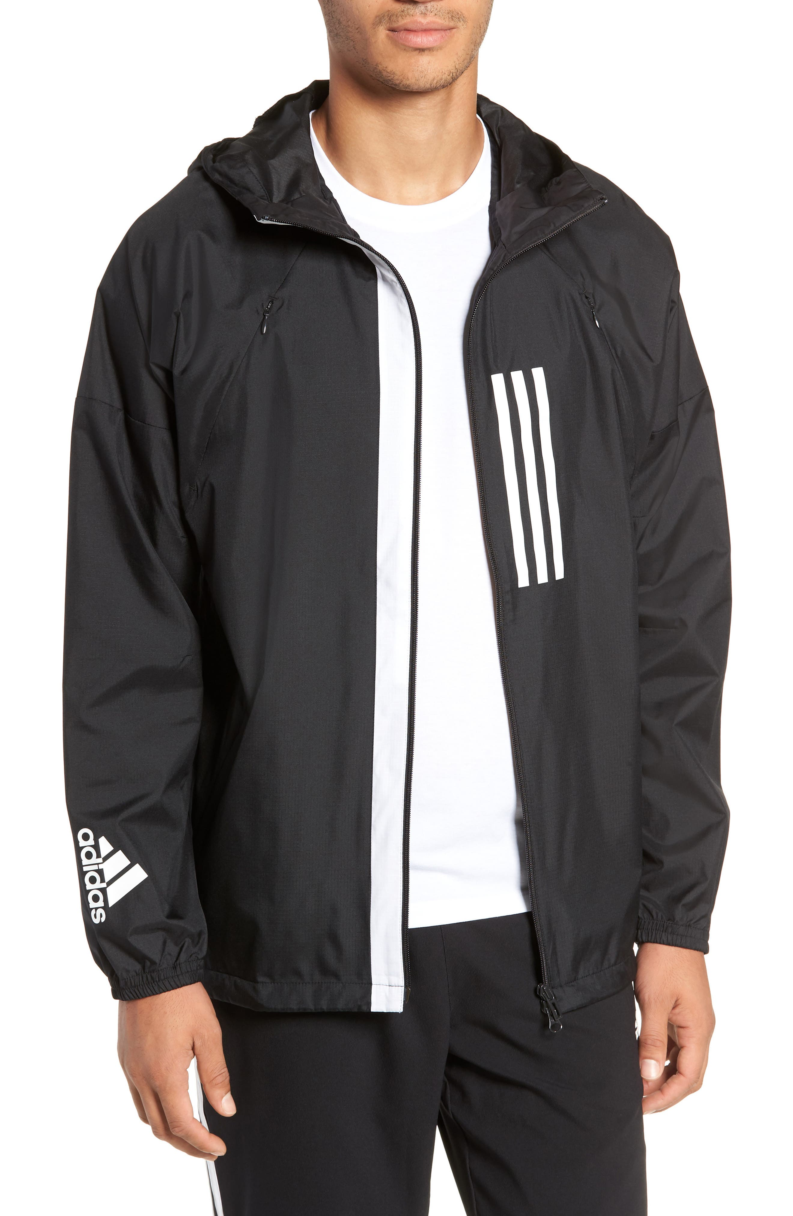 ADIDAS,                             Water Repellent Hooded Windbreaker,                             Main thumbnail 1, color,                             BLACK