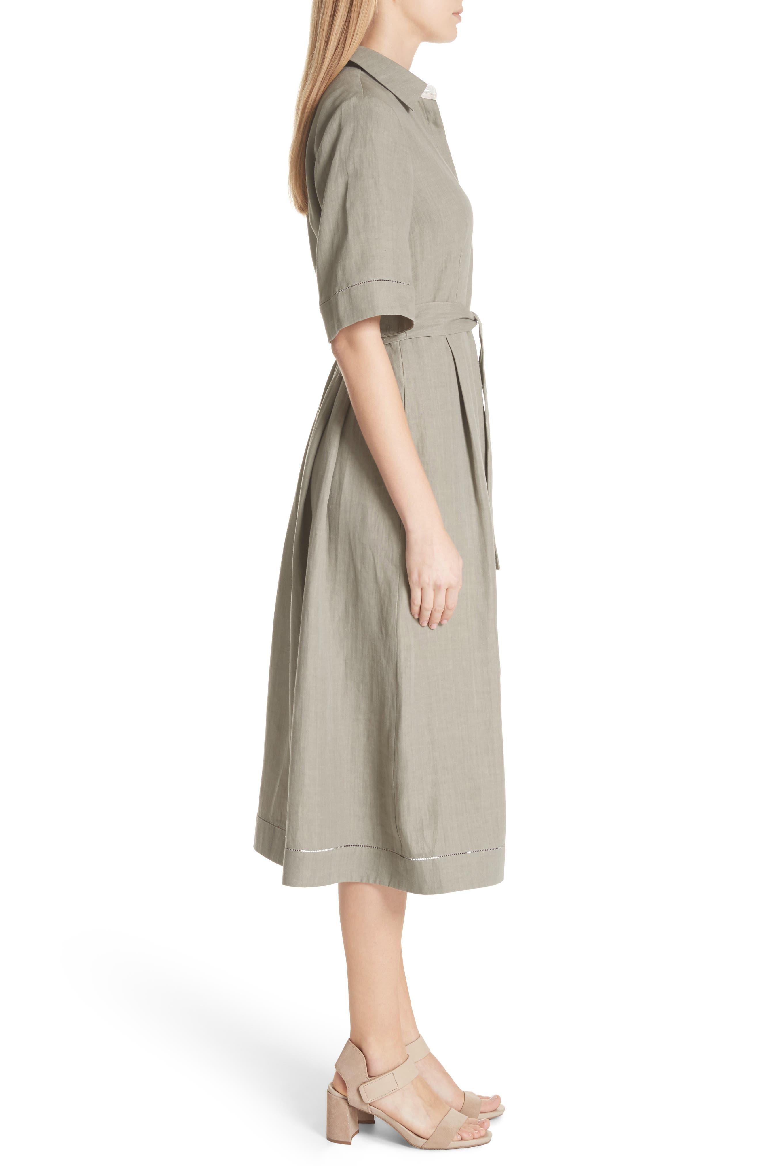 Eleni Linen Shirtdress,                             Alternate thumbnail 3, color,                             033