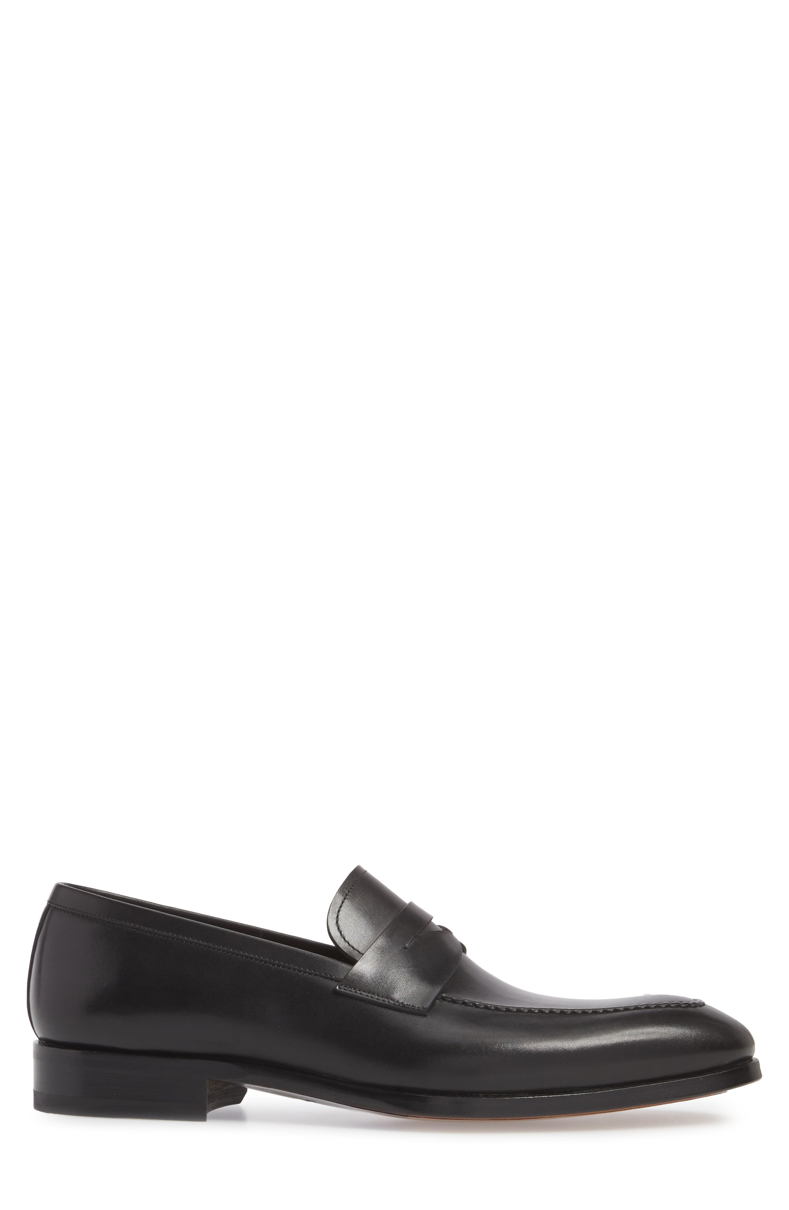 Rolly Apron Toe Penny Loafer,                             Alternate thumbnail 3, color,                             BLACK LEATHER