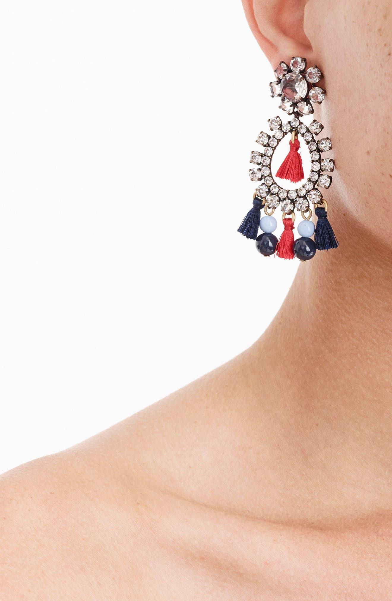 Crystal & Tassel Earrings,                             Alternate thumbnail 2, color,                             040