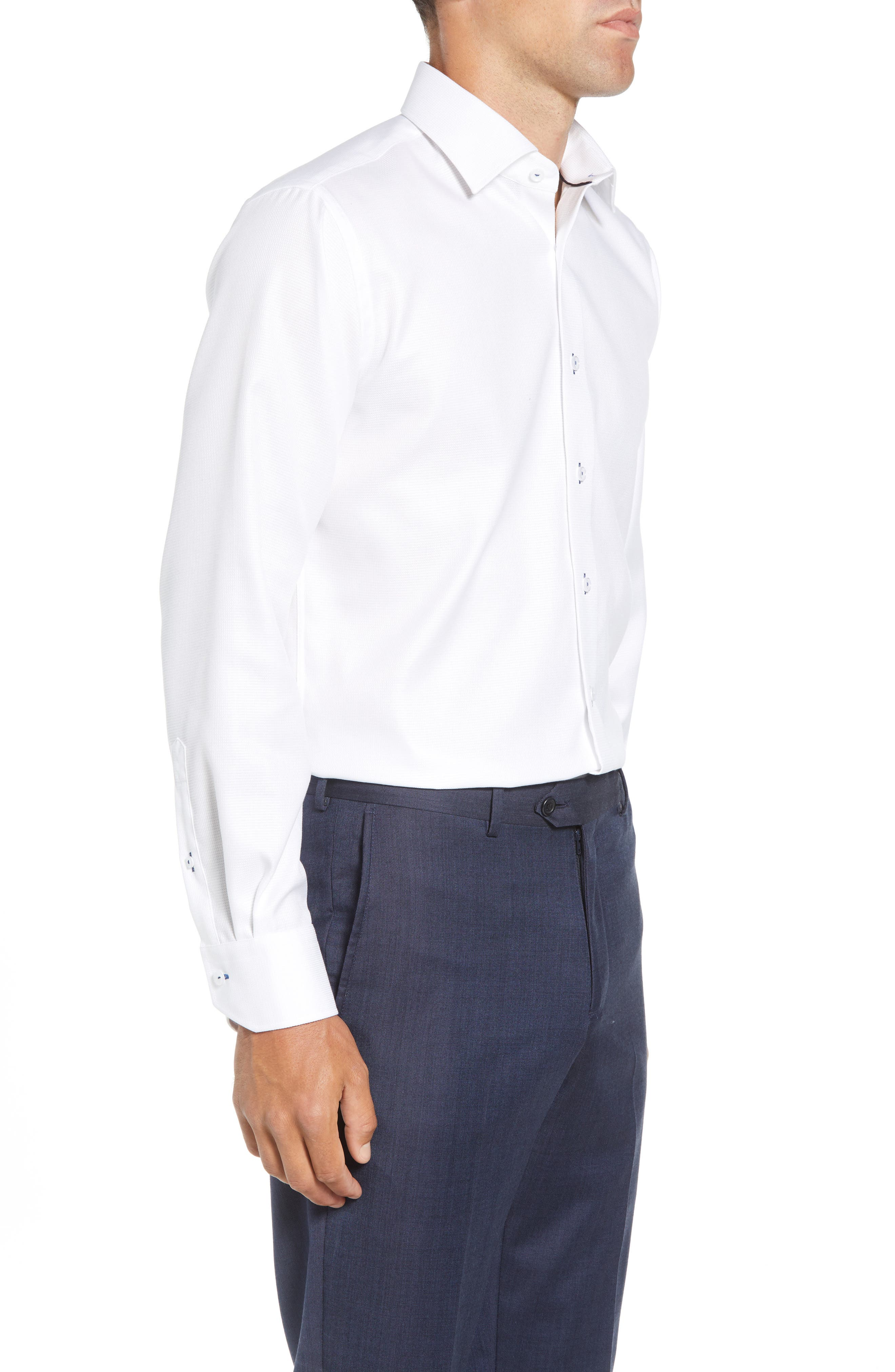 Trim Fit Solid Dress Shirt,                             Alternate thumbnail 4, color,                             WHITE