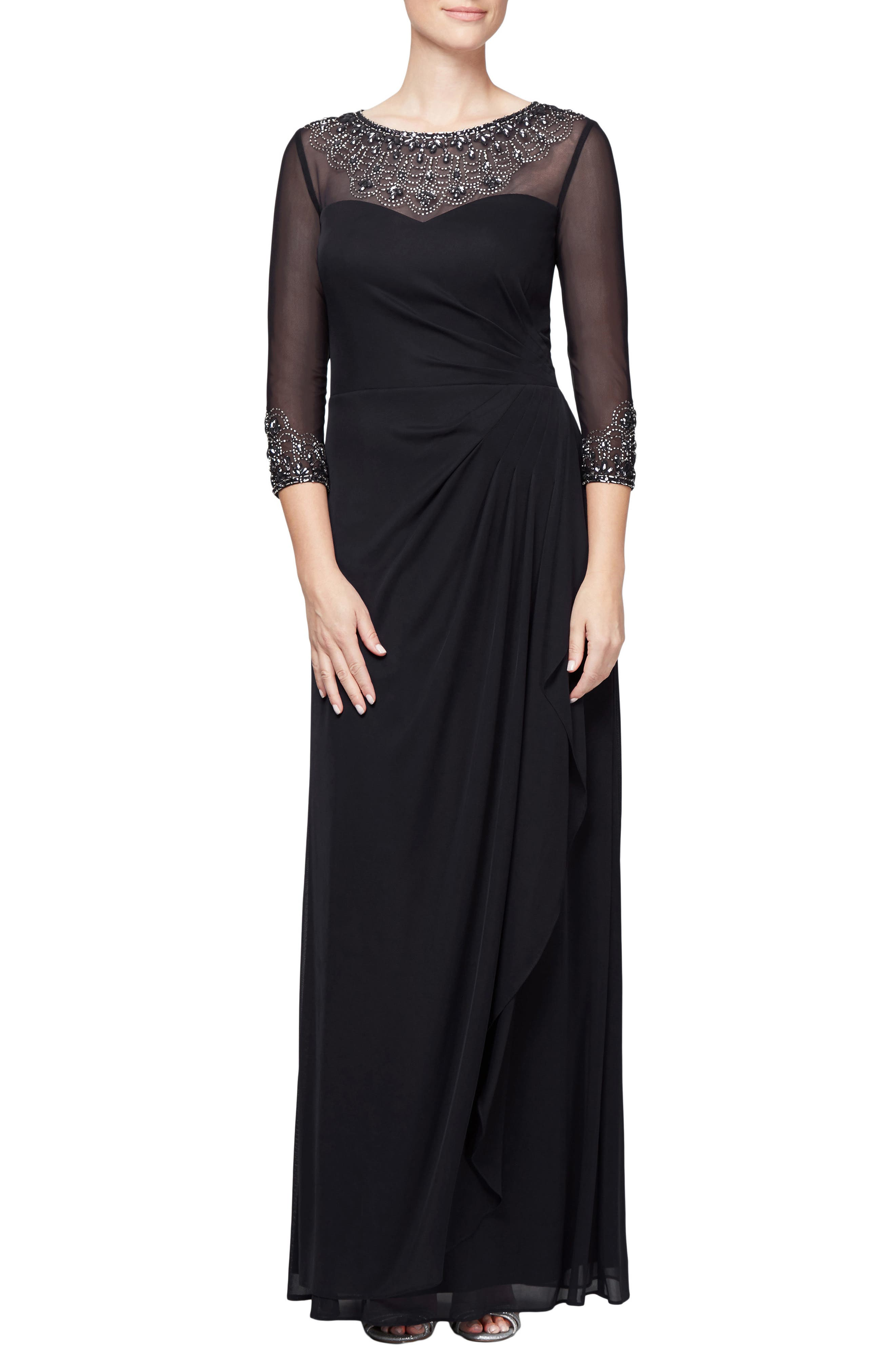 Alex Evenings Embellished A-Line Gown, Black