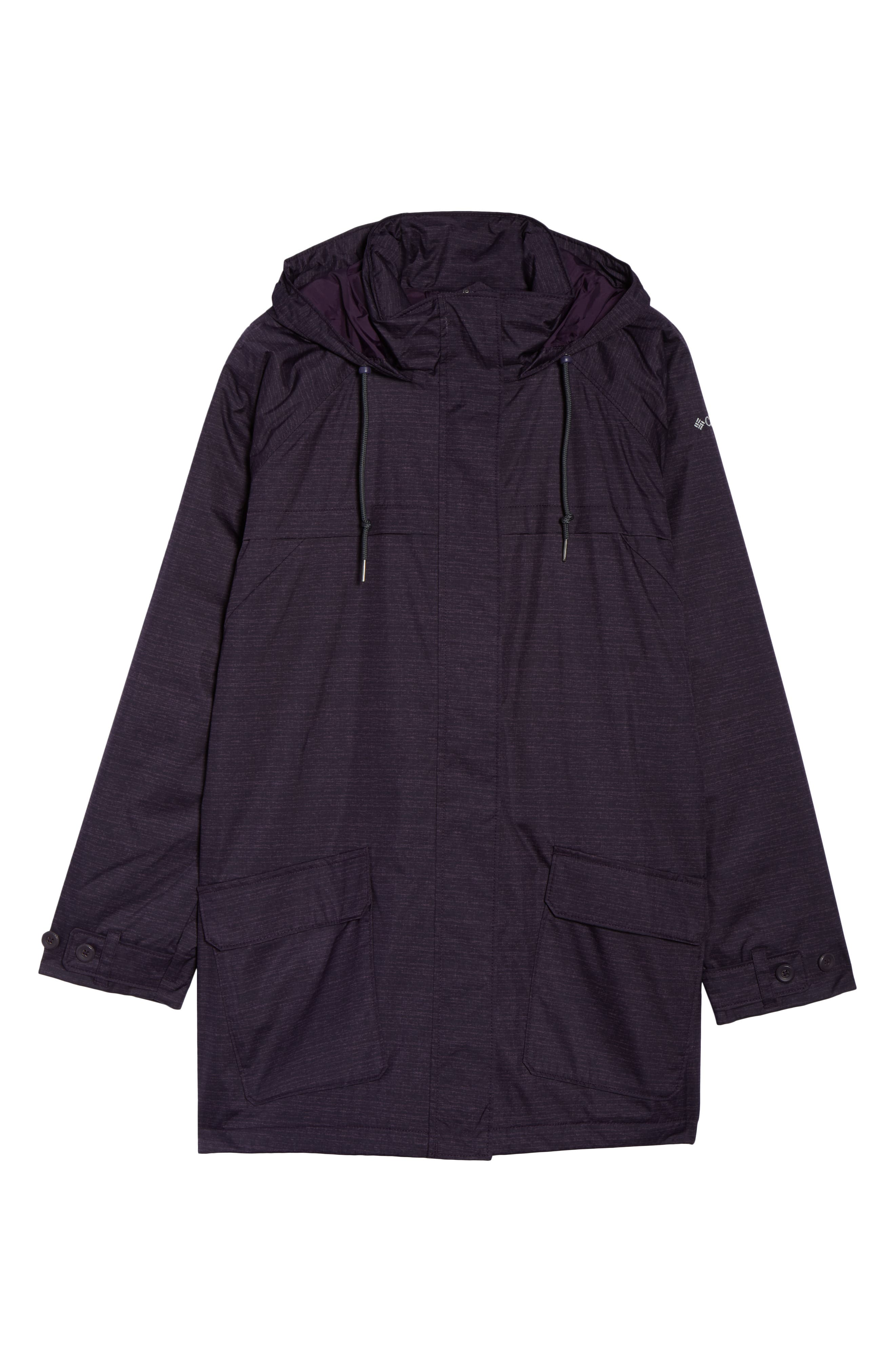 Lookout Crest Omni-Tech Waterproof Jacket,                             Alternate thumbnail 6, color,                             DARK PLUM TEXTURE PRINT