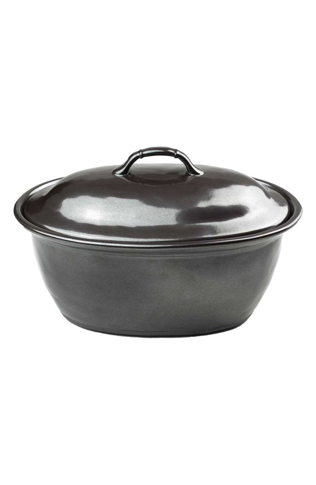 Pewter Stoneware Covered Casserole Dish,                             Alternate thumbnail 2, color,                             PEWTER