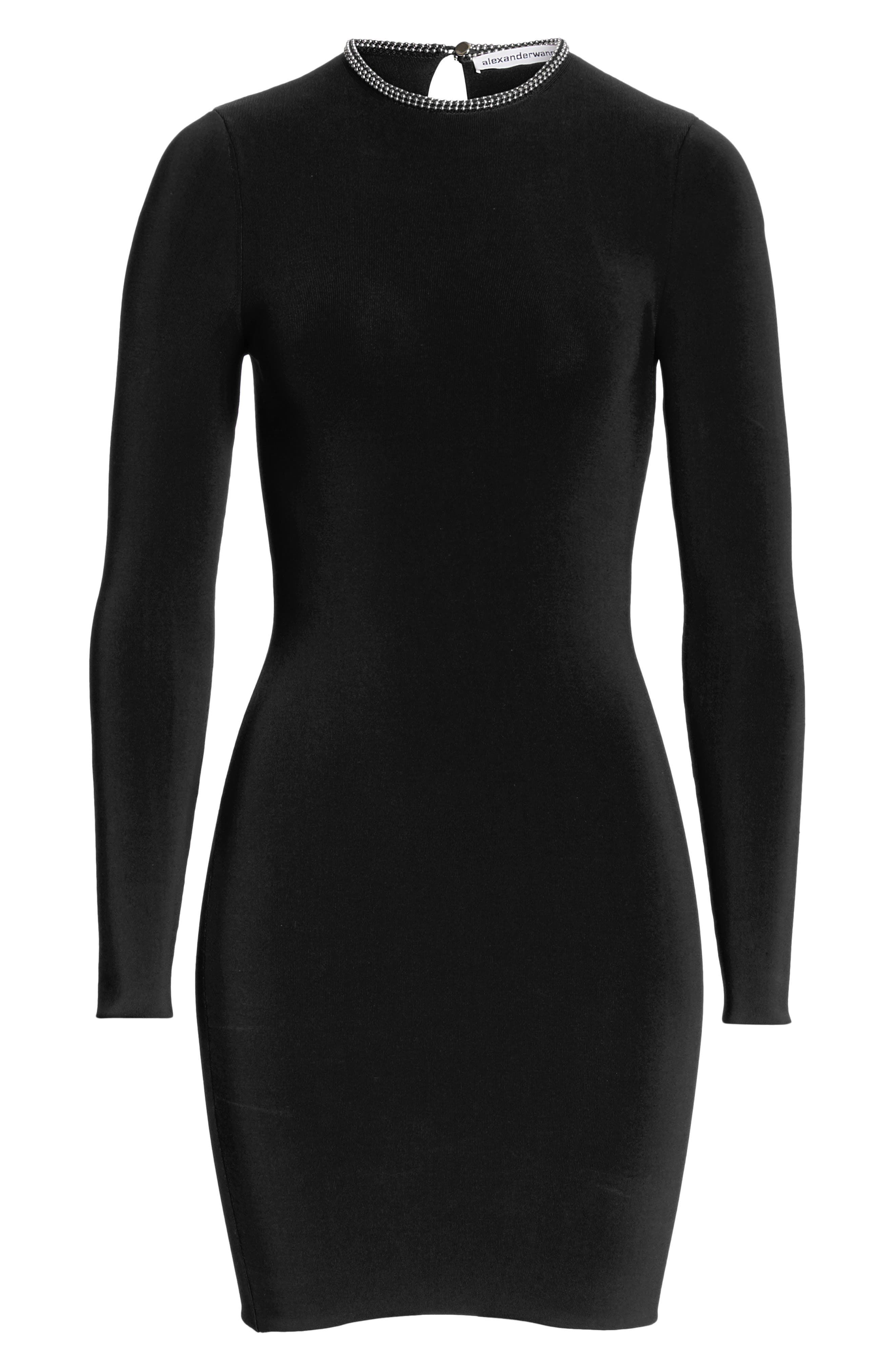 Ball Chain Trim Body-Con Dress,                             Alternate thumbnail 7, color,                             BLACK