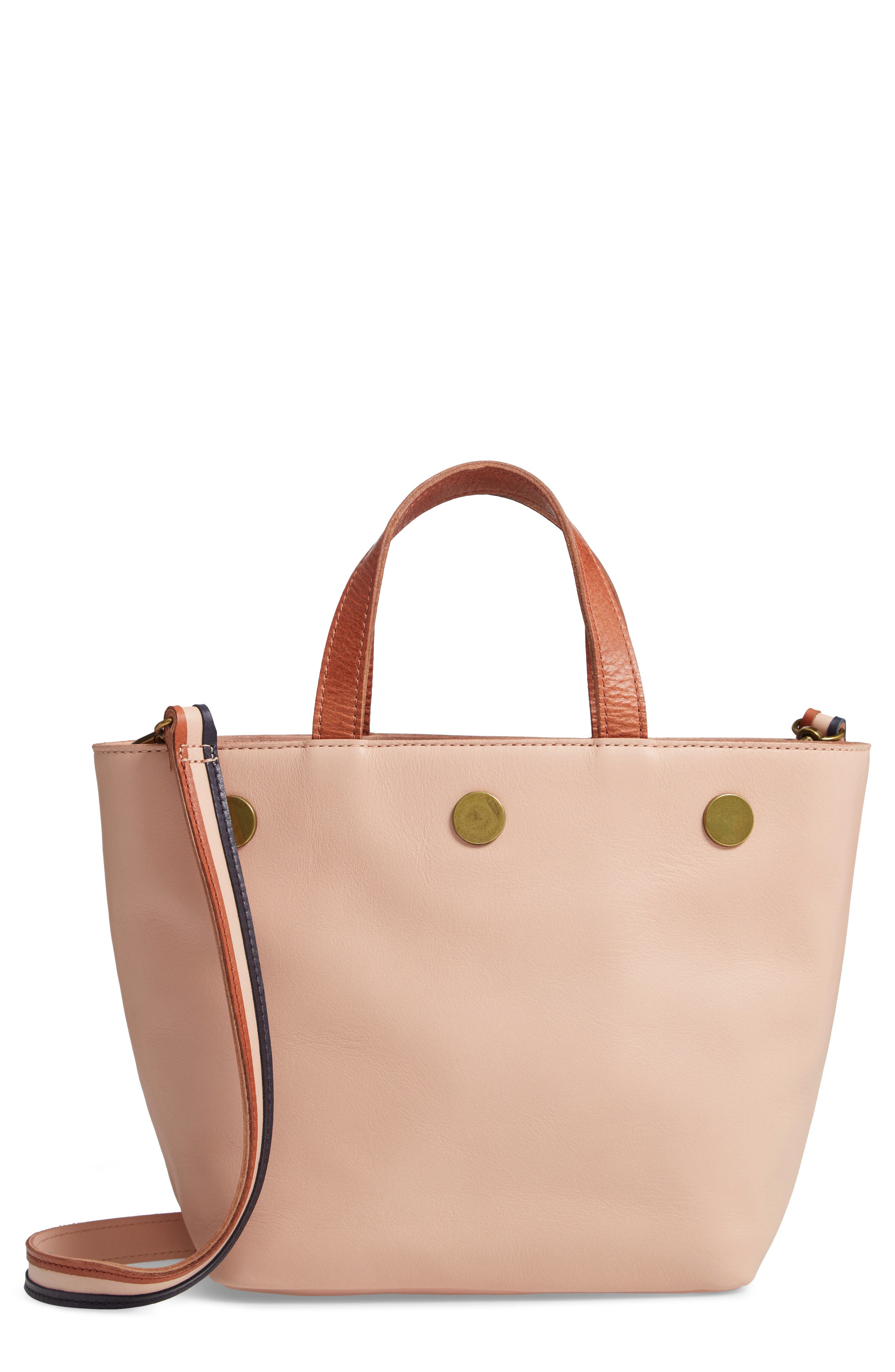 Leather Top Handle Bag,                             Main thumbnail 1, color,                             SHEER PINK