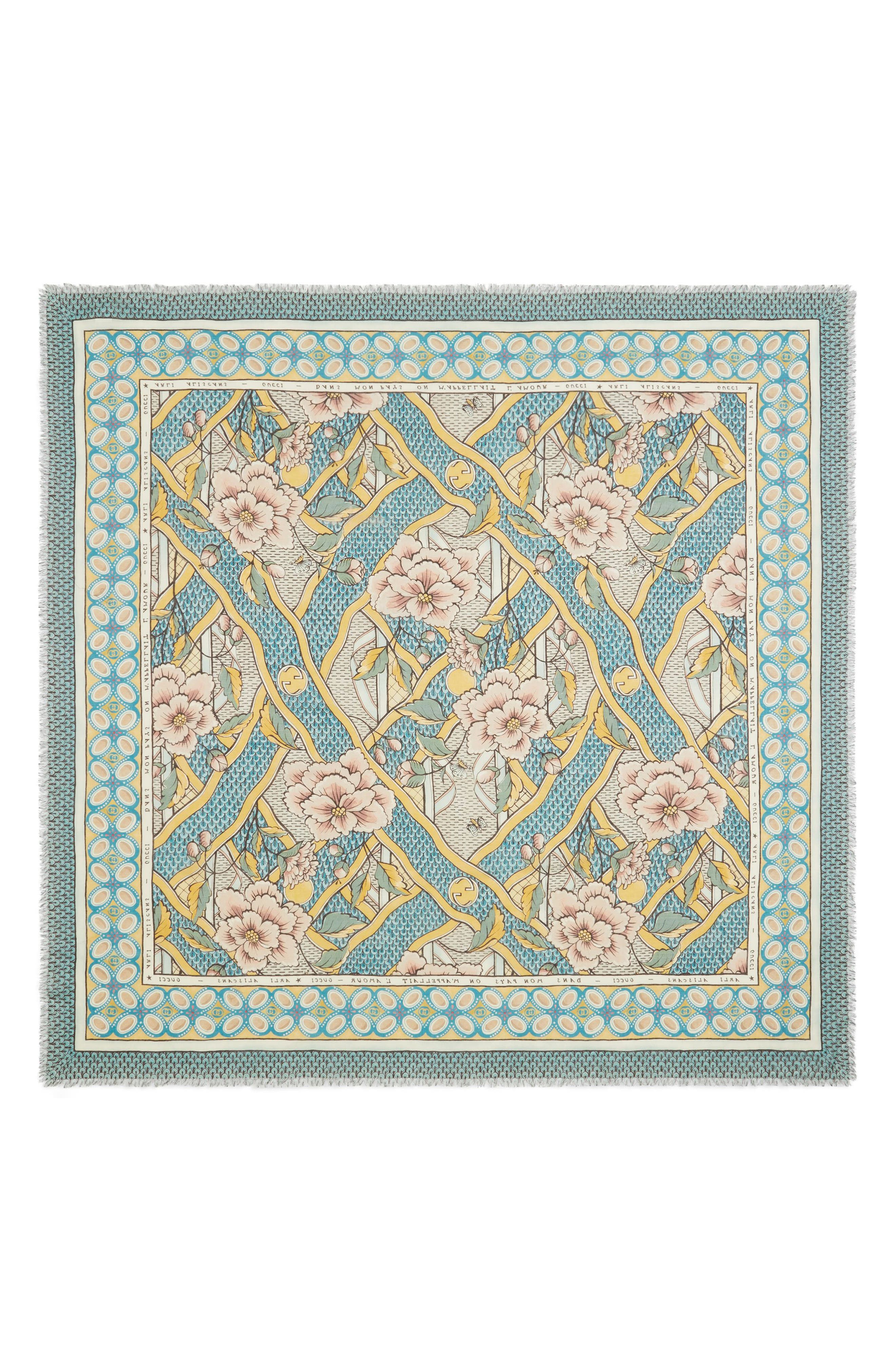 Loraine Floral Wool & Silk Scarf,                             Main thumbnail 1, color,                             GOLD/ SKY BLUE