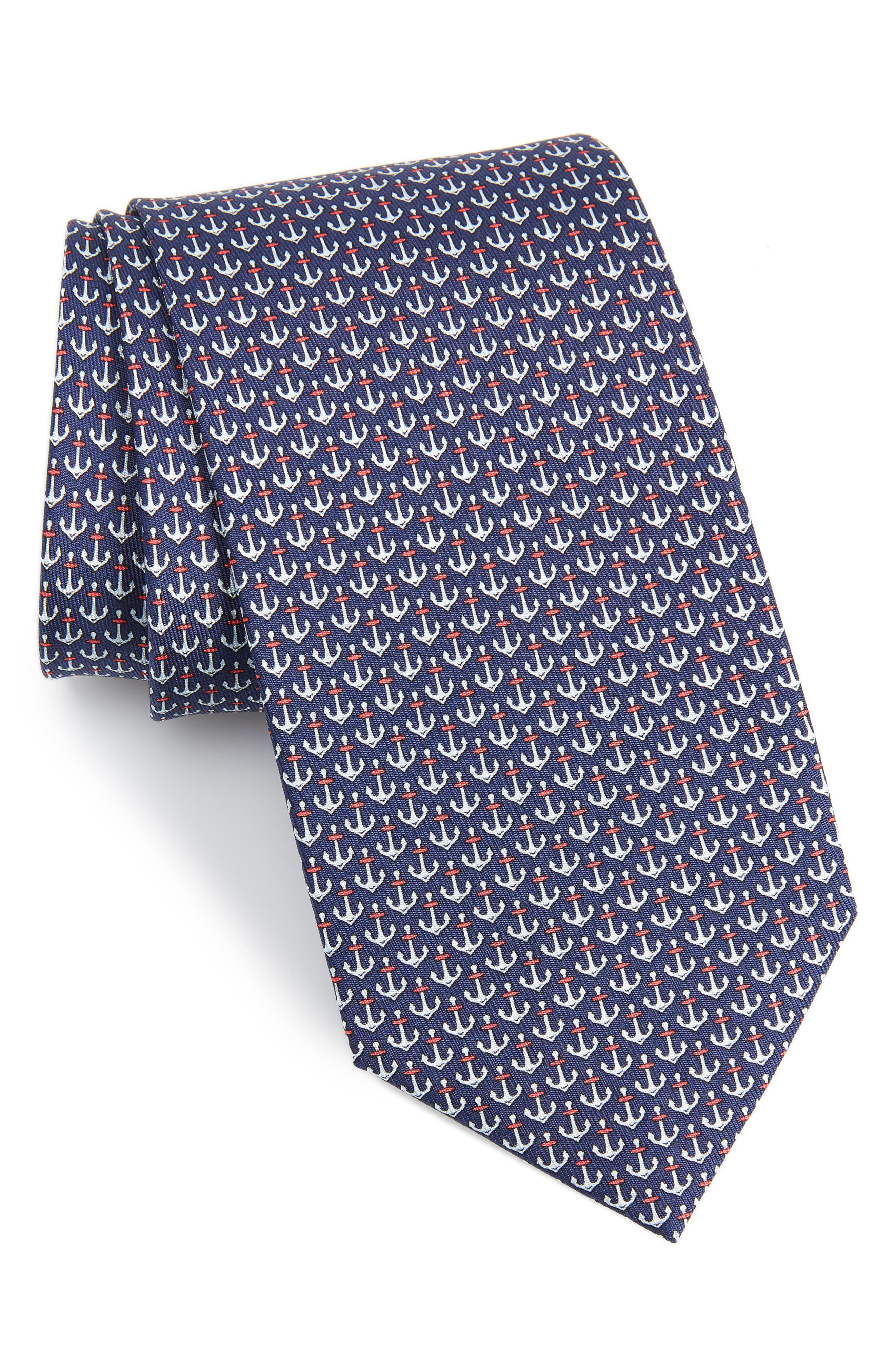 Encora Silk Tie,                         Main,                         color, NAVY