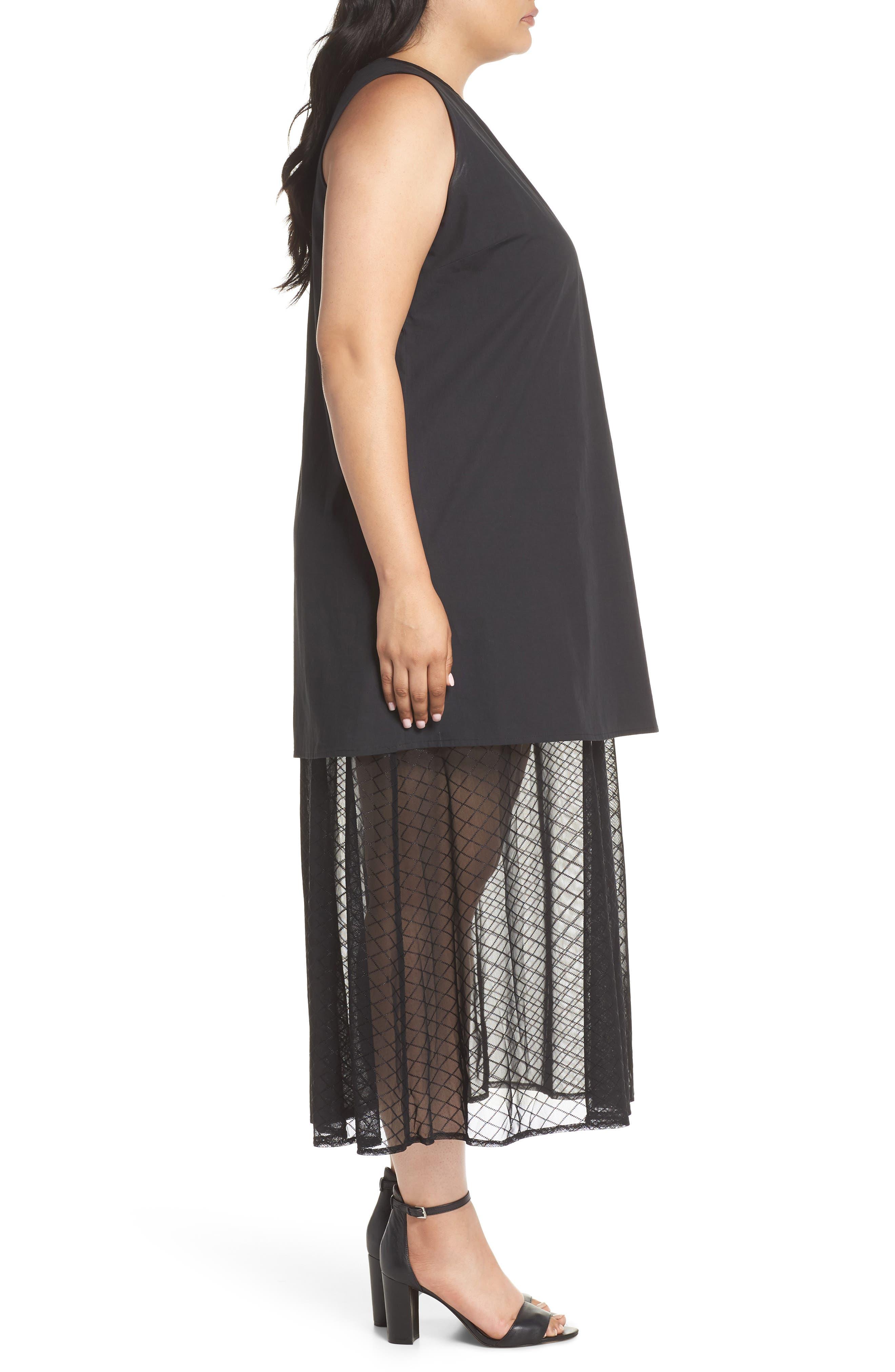 The Agata Sheer Hem Maxi Dress,                             Alternate thumbnail 3, color,                             BLACK