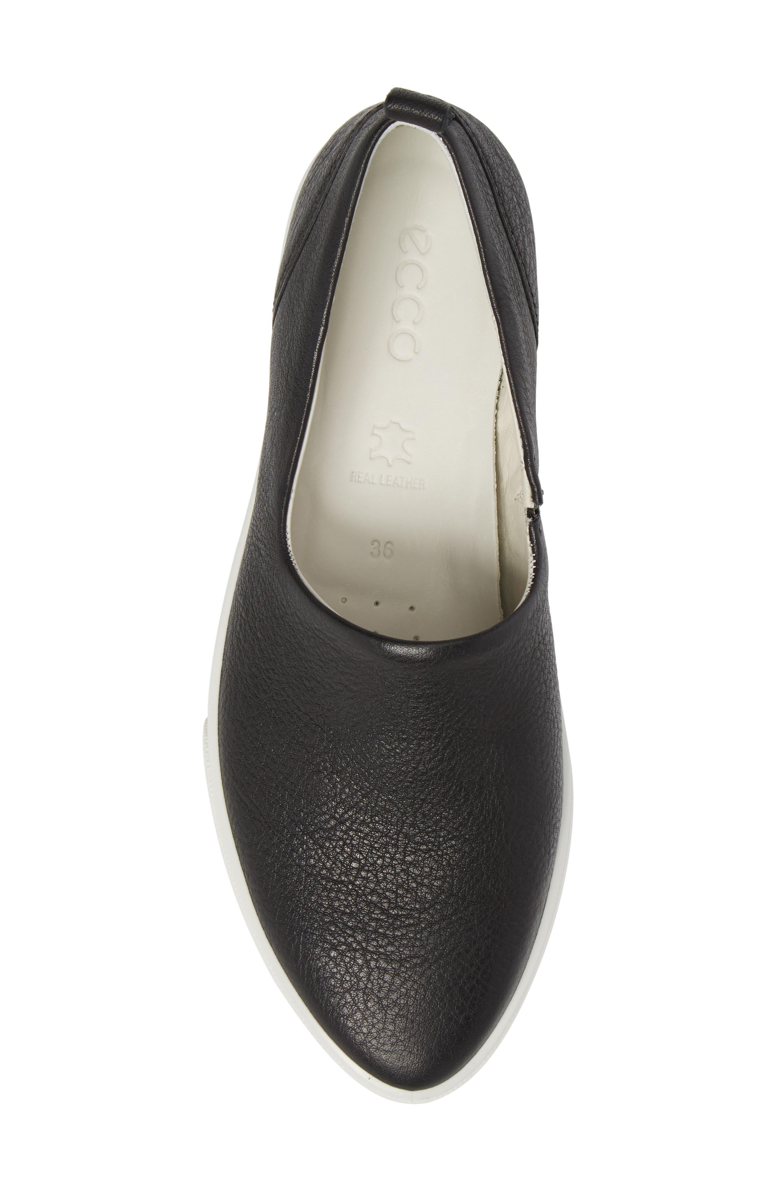 Gillian Slip-On Sneaker,                             Alternate thumbnail 5, color,                             BLACK LEATHER