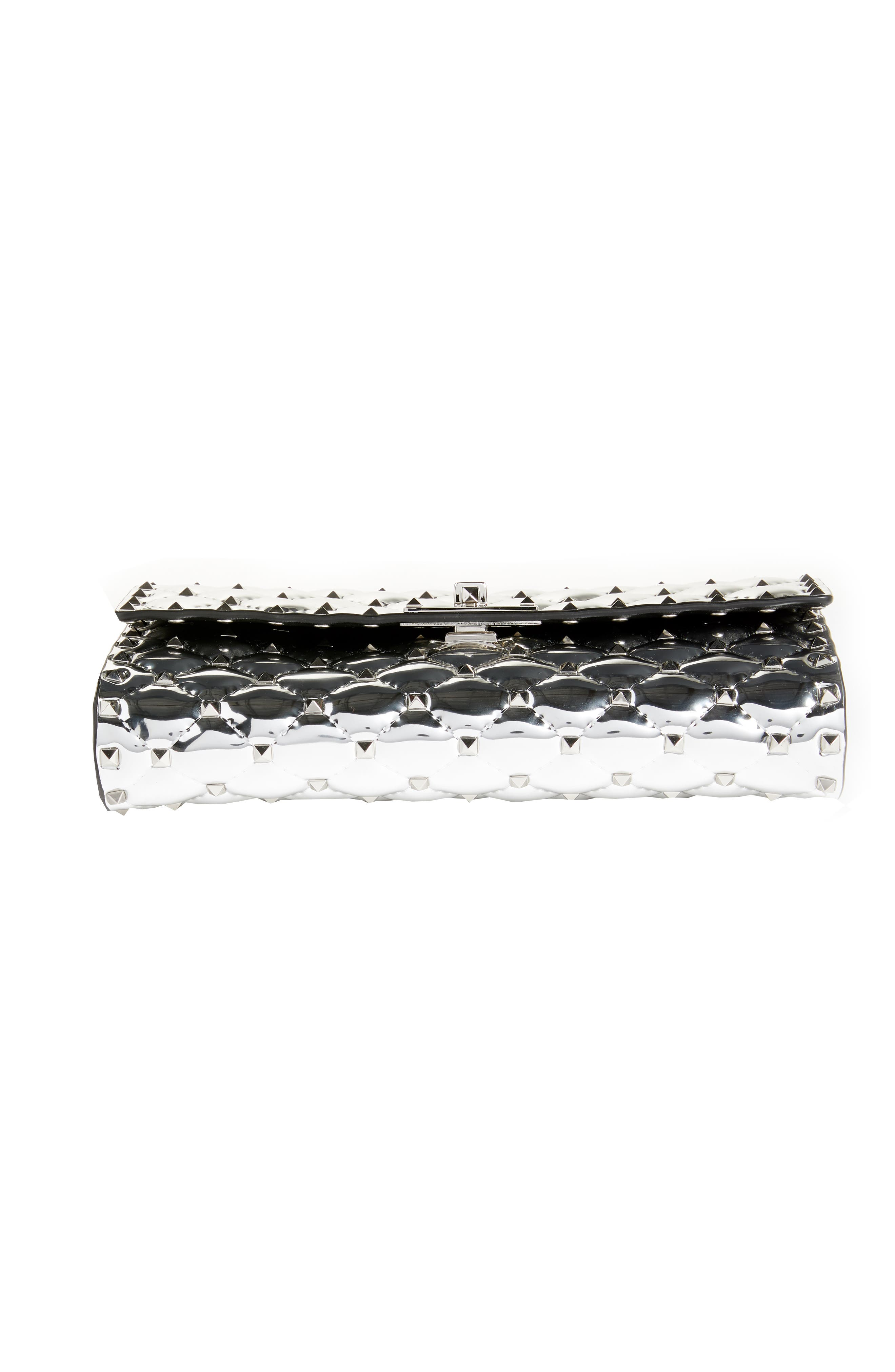 VALENTINO GARAVANI,                             Specchio Rockstud Spike Quilted Leather Clutch,                             Alternate thumbnail 6, color,                             040