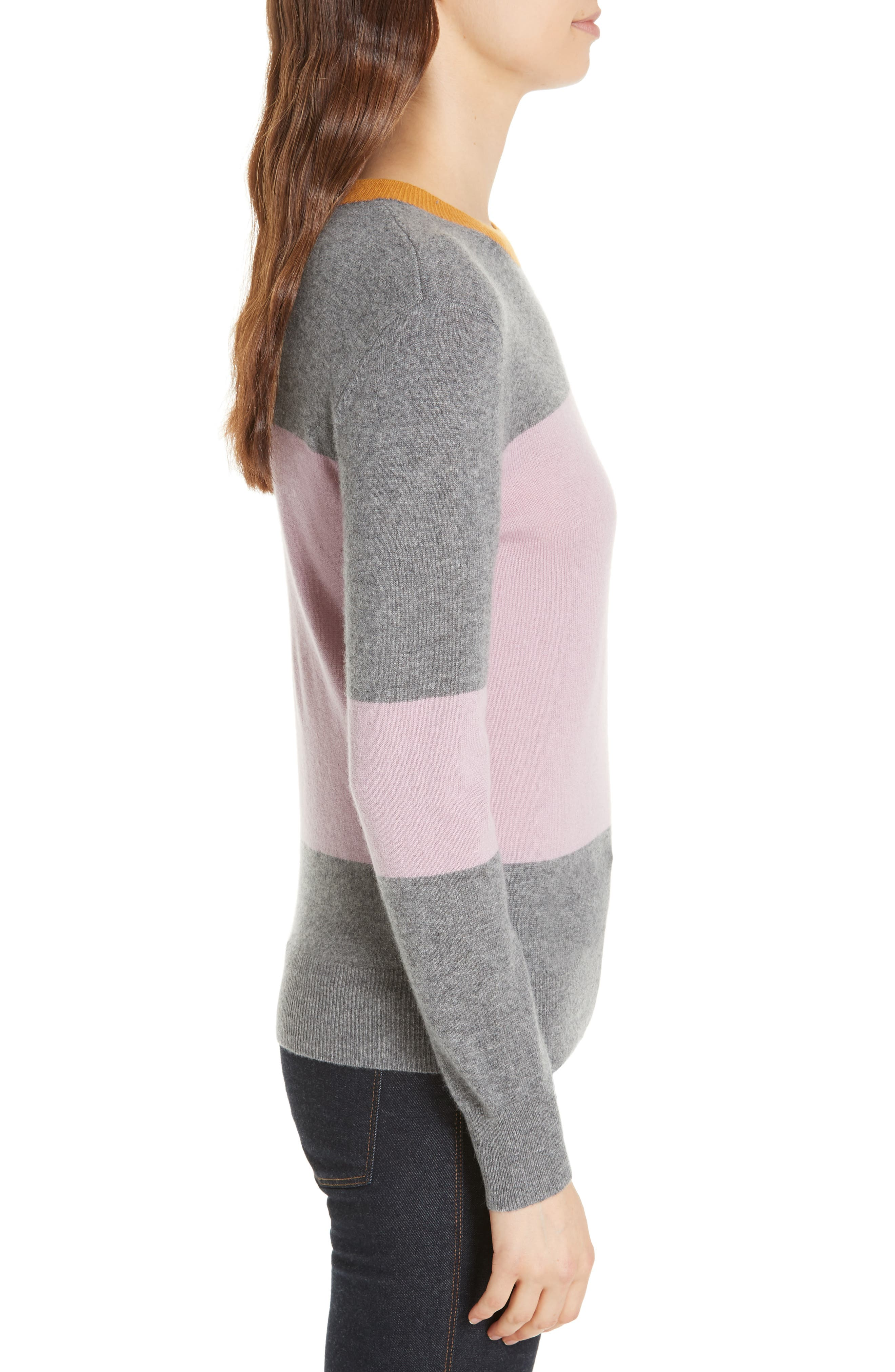 Colour by Numbers Bryonny Colorblock Cashmere Sweater,                             Alternate thumbnail 3, color,                             GREY MARL