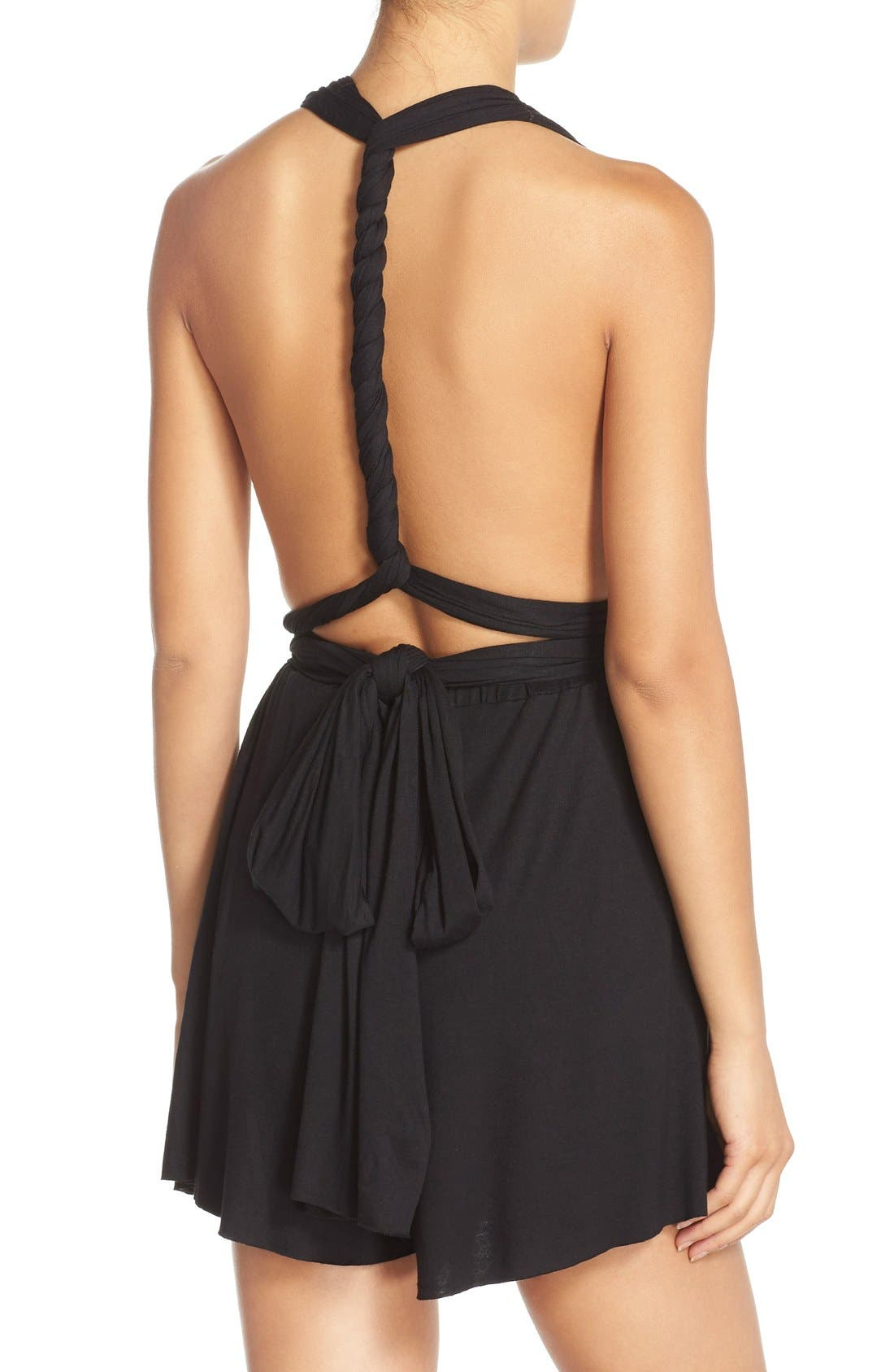 Convertible Cover-Up Romper,                             Alternate thumbnail 7, color,                             001