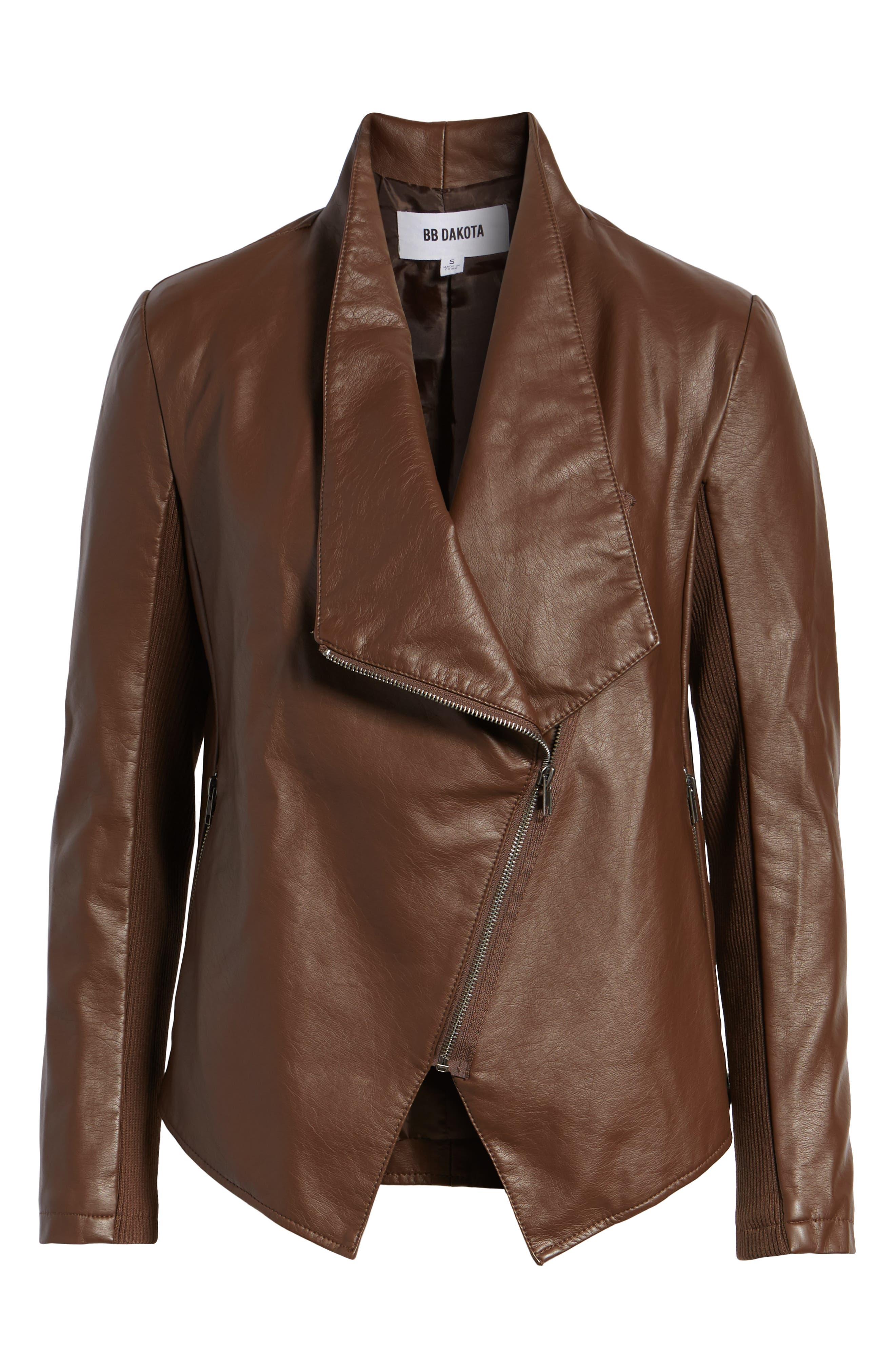 Gabrielle Faux Leather Asymmetrical Jacket,                             Alternate thumbnail 6, color,                             202
