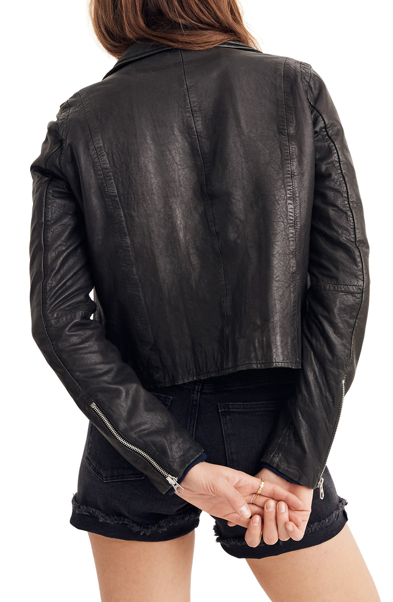 MADEWELL,                             Washed Leather Moto Jacket,                             Alternate thumbnail 2, color,                             TRUE BLACK