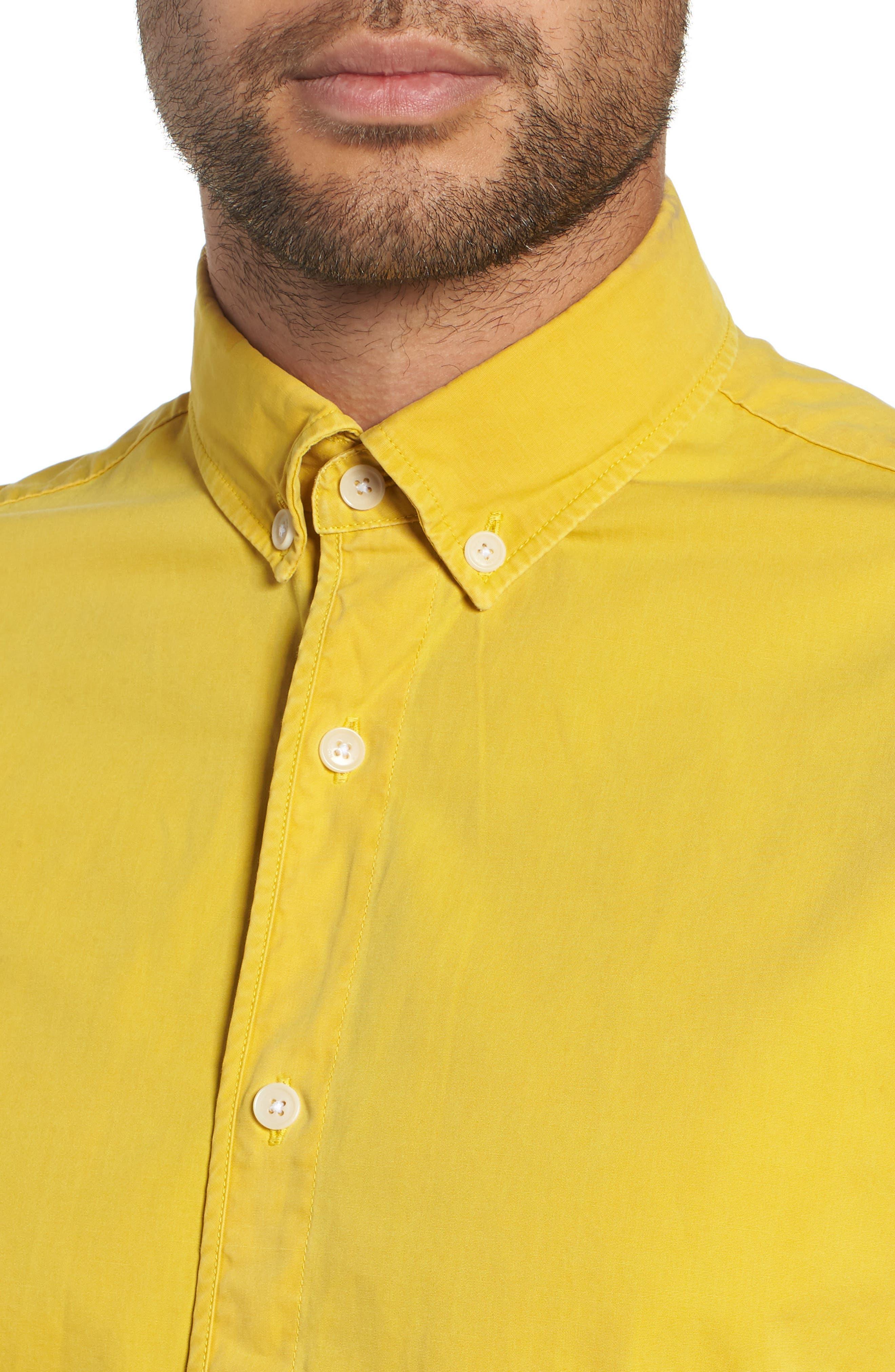 Bampton Solid Sport Shirt,                             Alternate thumbnail 2, color,                             LEMON