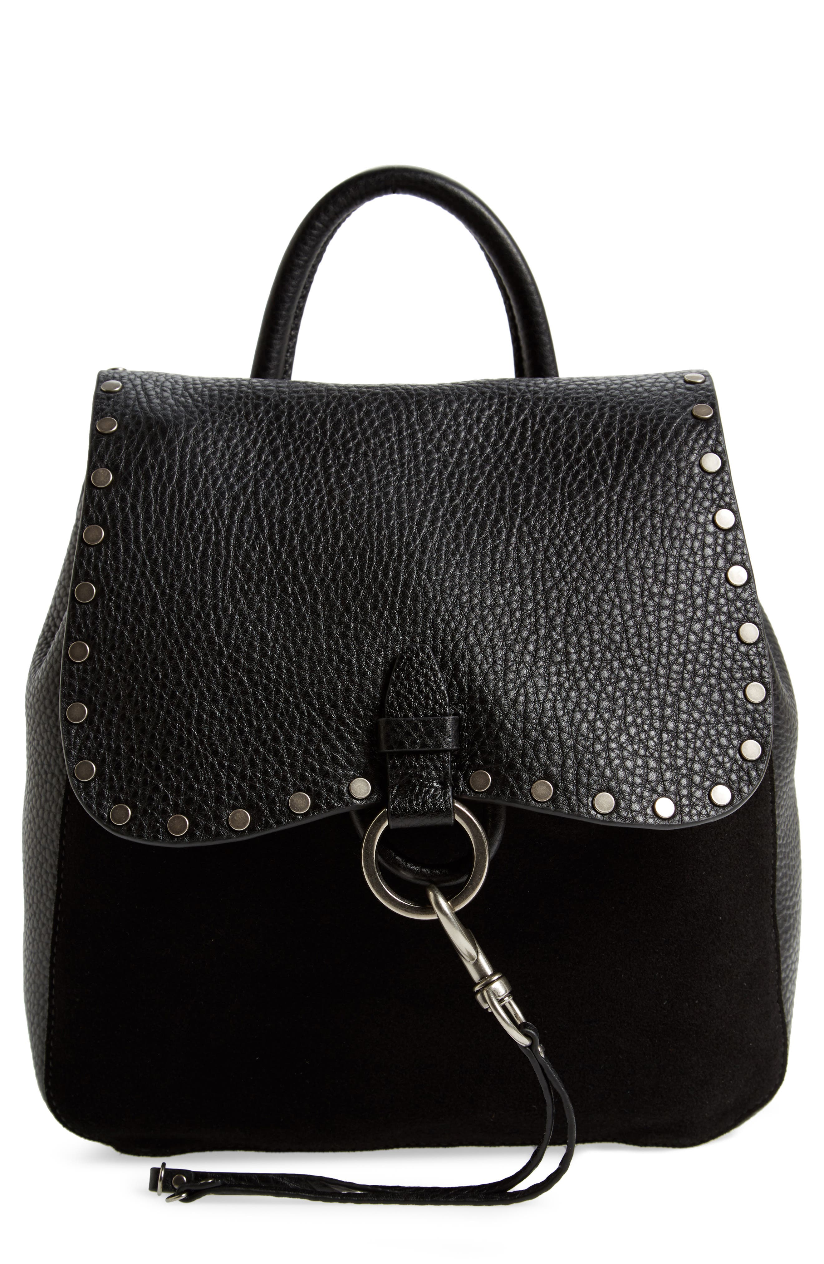Small Keith Suede & Leather Backpack,                         Main,                         color, 001