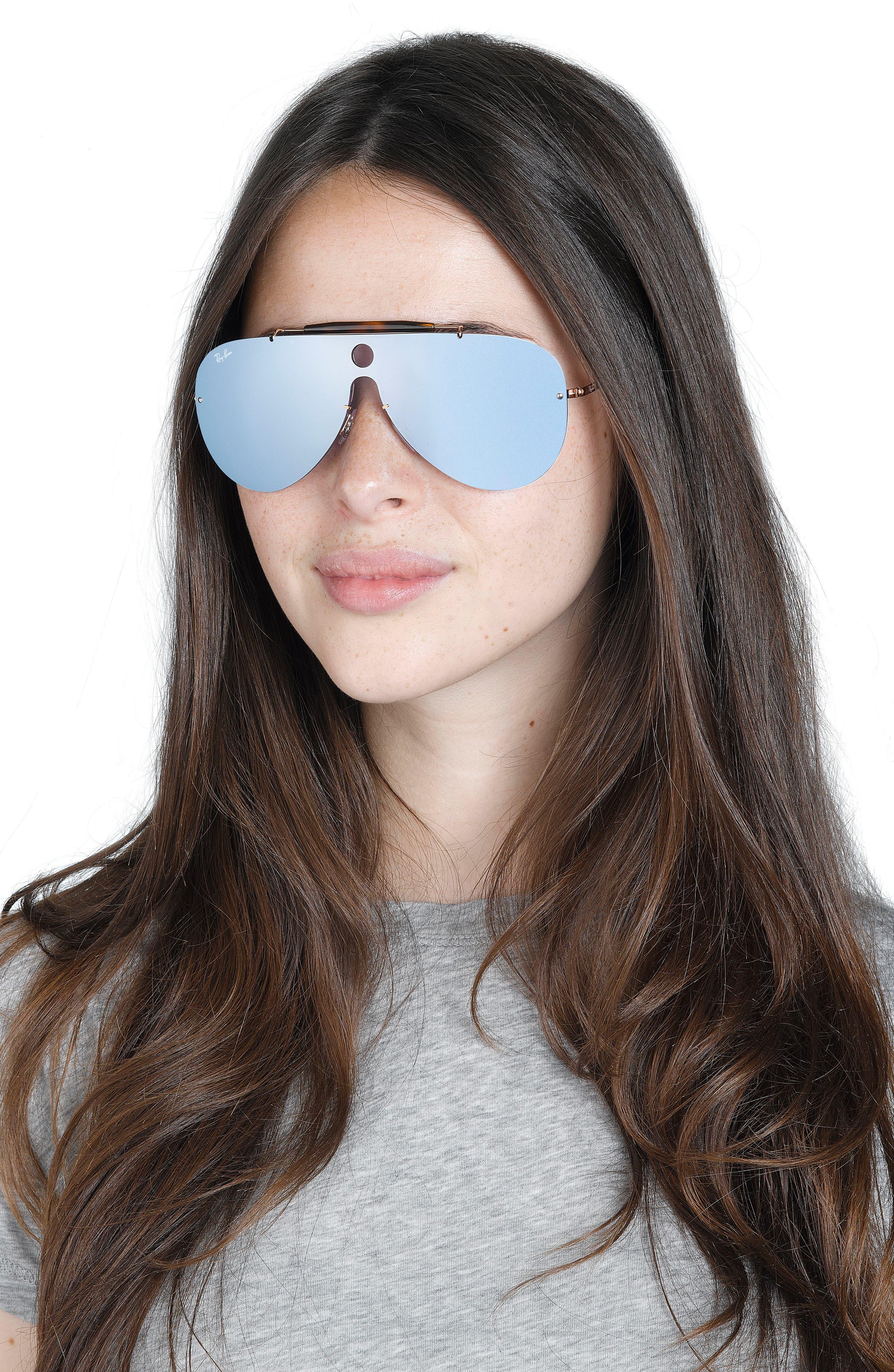 Aviator Shield Sunglasses,                             Alternate thumbnail 4, color,                             001