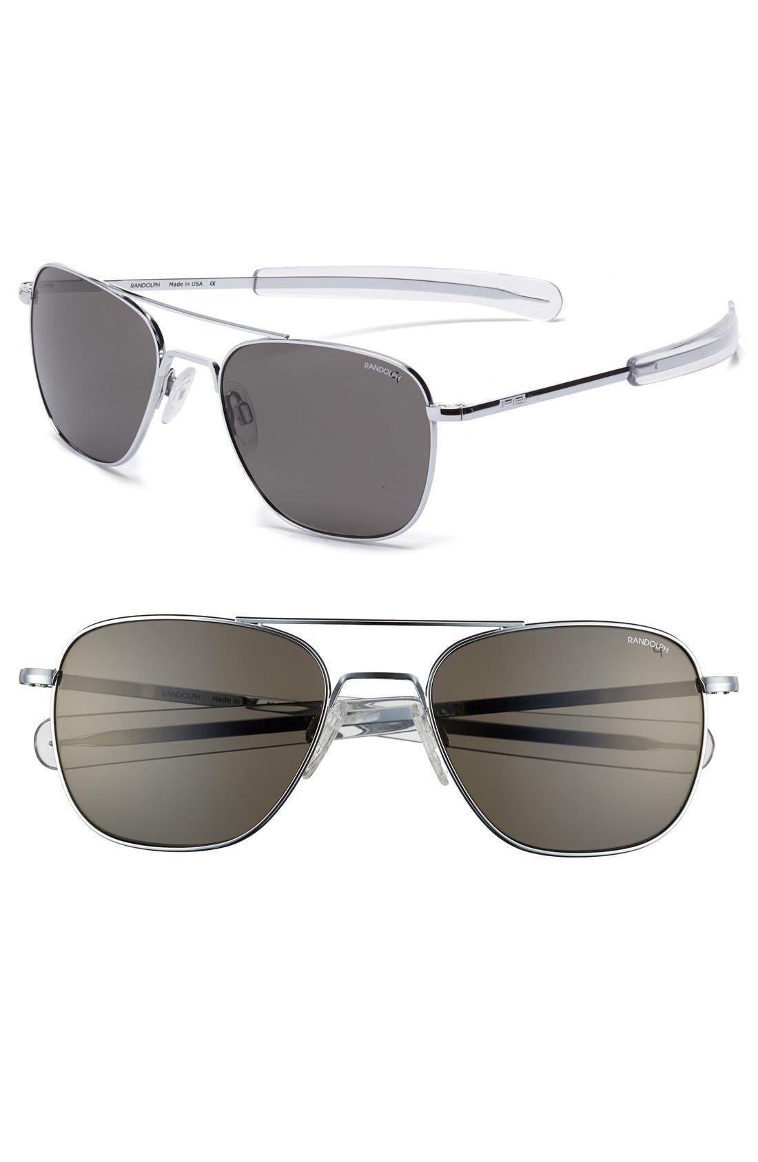 55mm Polarized Aviator Sunglasses,                             Main thumbnail 1, color,                             045