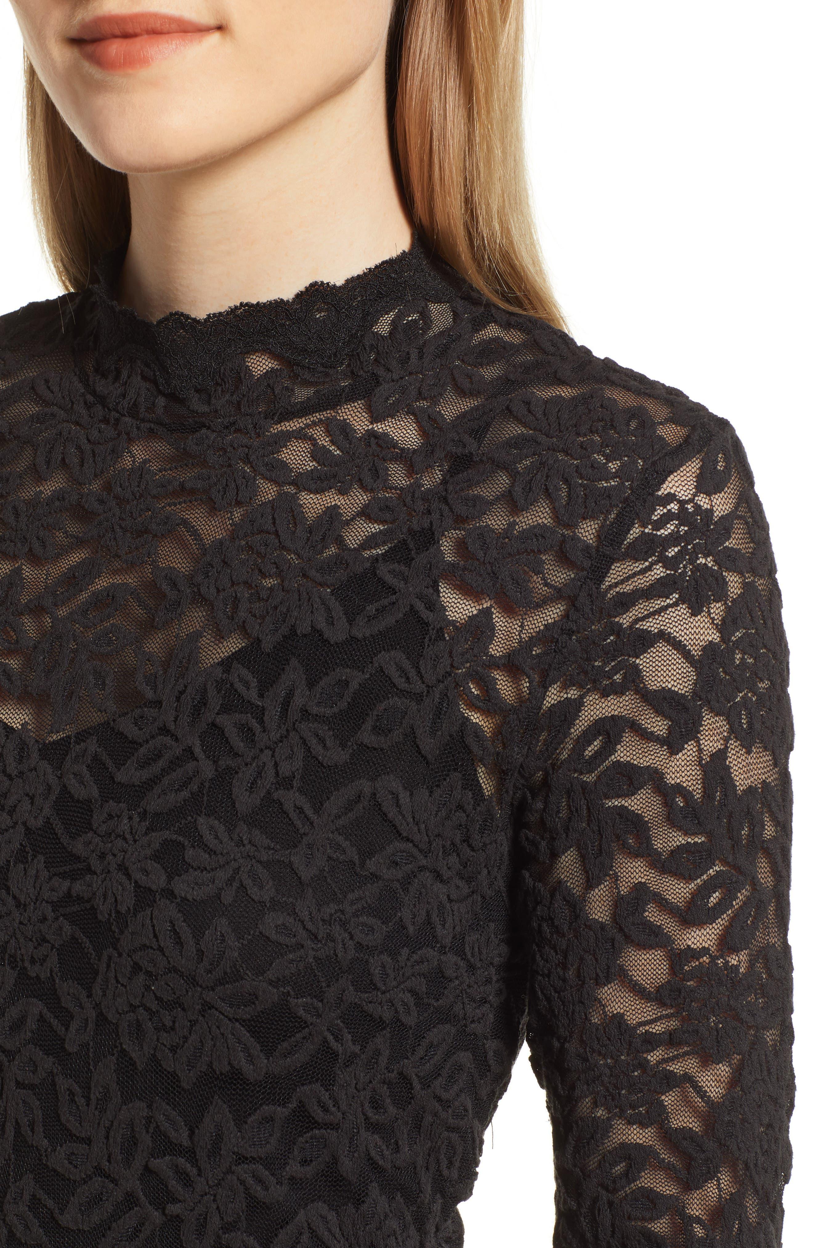 Delicia Lace Body-Con Dress,                             Alternate thumbnail 4, color,                             BLACK SILVER