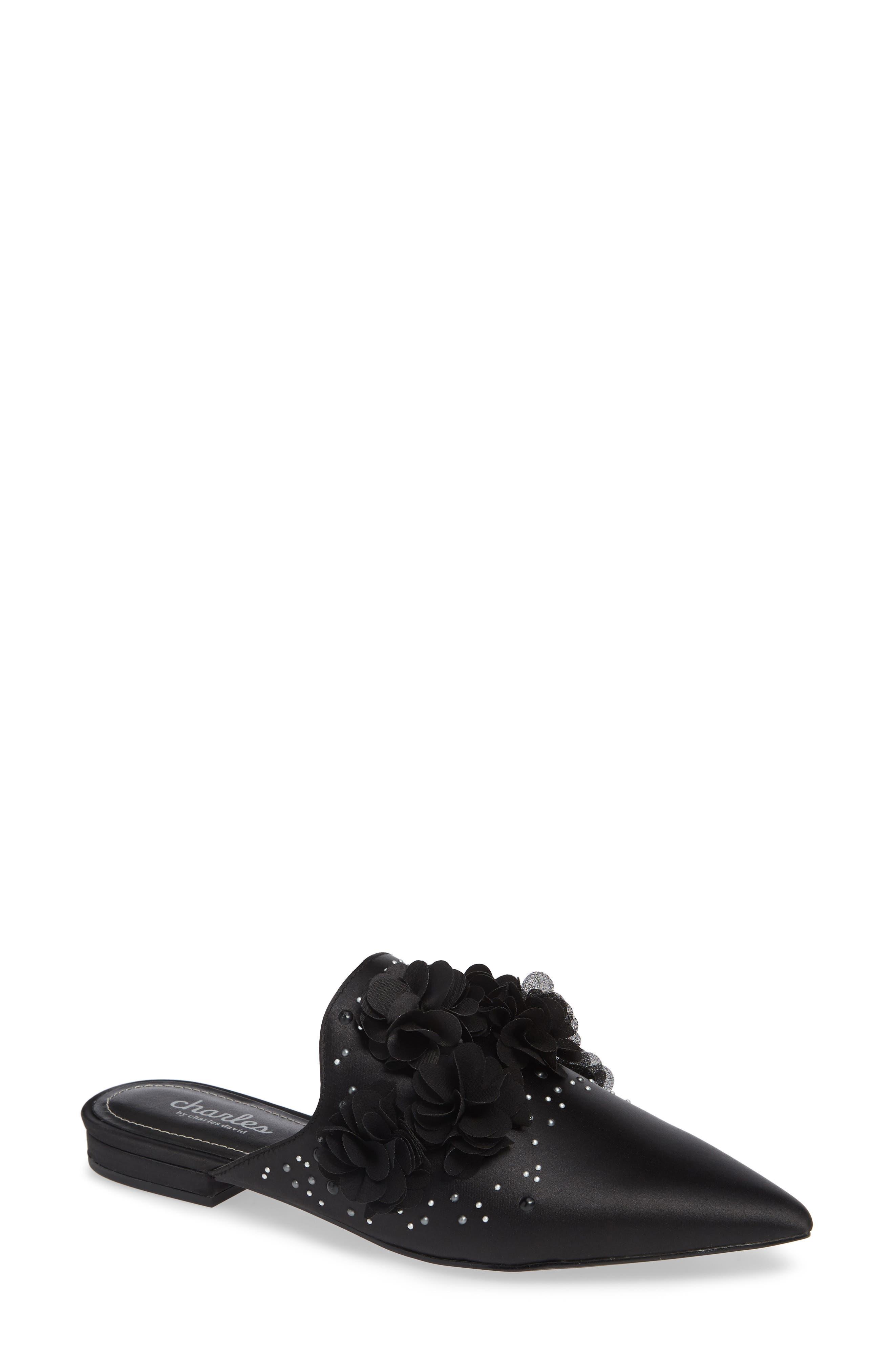 CHARLES BY CHARLES DAVID Wesley Flower Applique Satin Embellished Sandals in Black