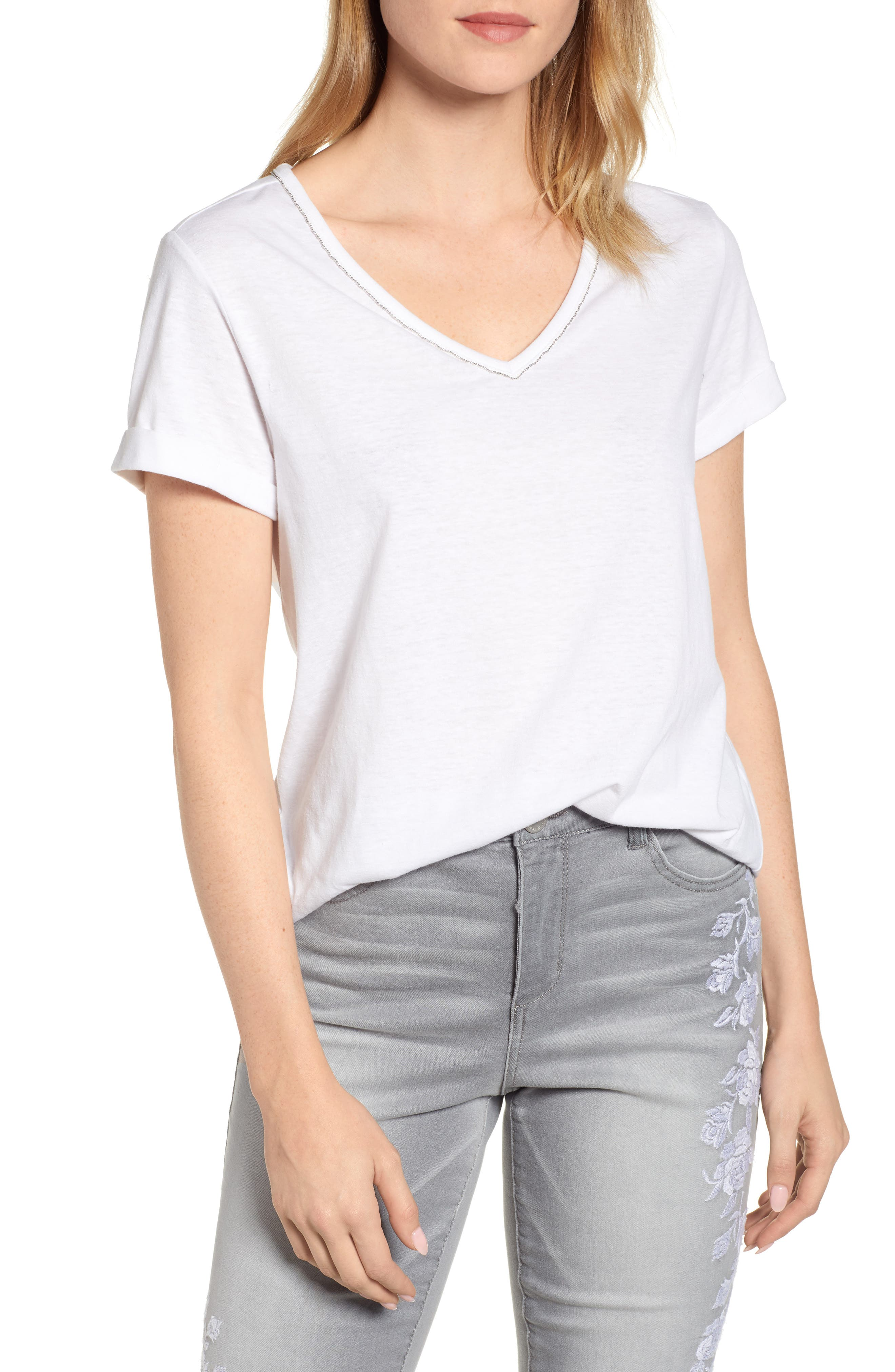 Chain Trim V-Neck Tee,                             Main thumbnail 1, color,                             OFF WHITE