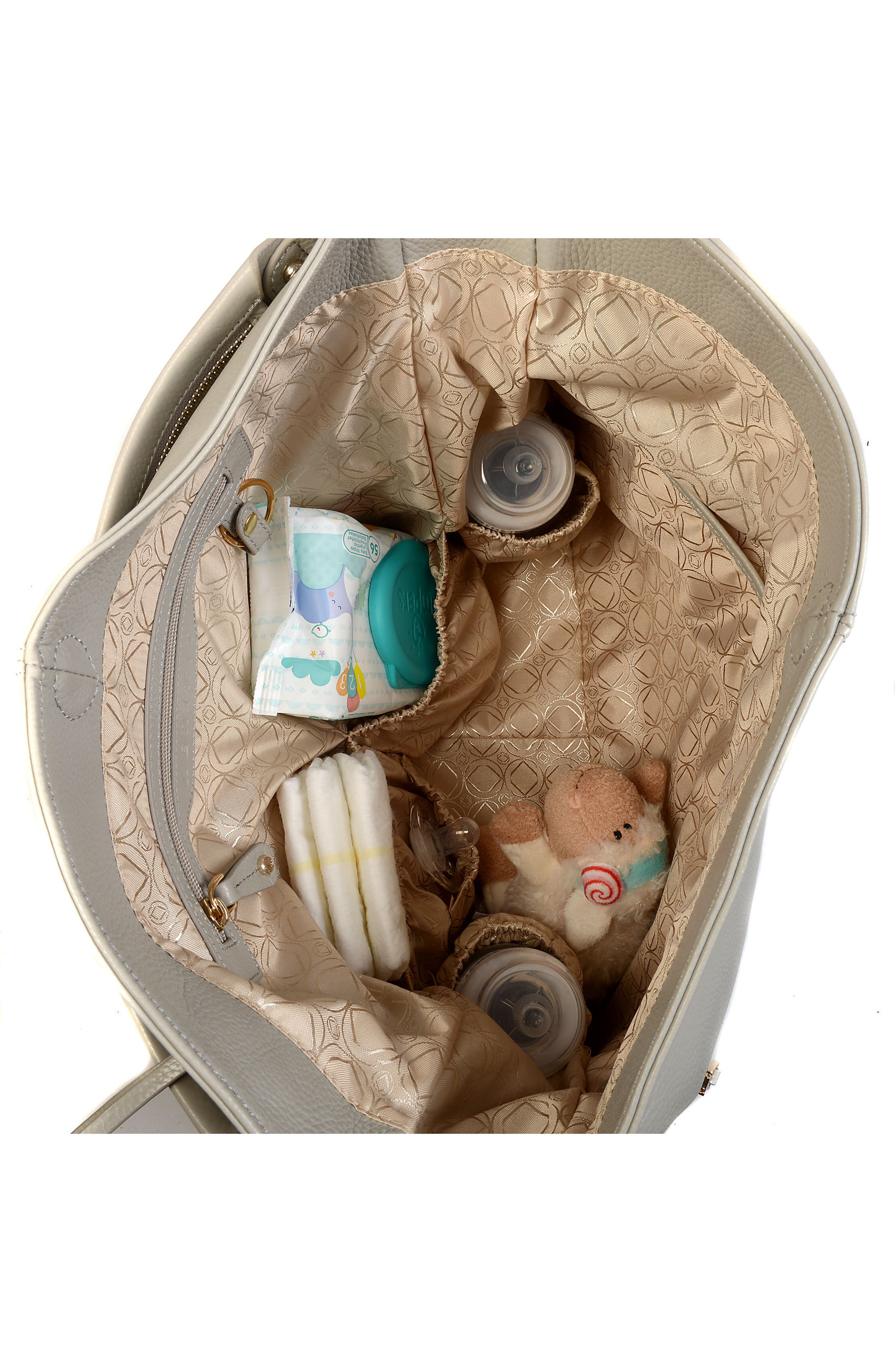 Lennox Leather Diaper Bag,                             Alternate thumbnail 3, color,                             ICE GREY