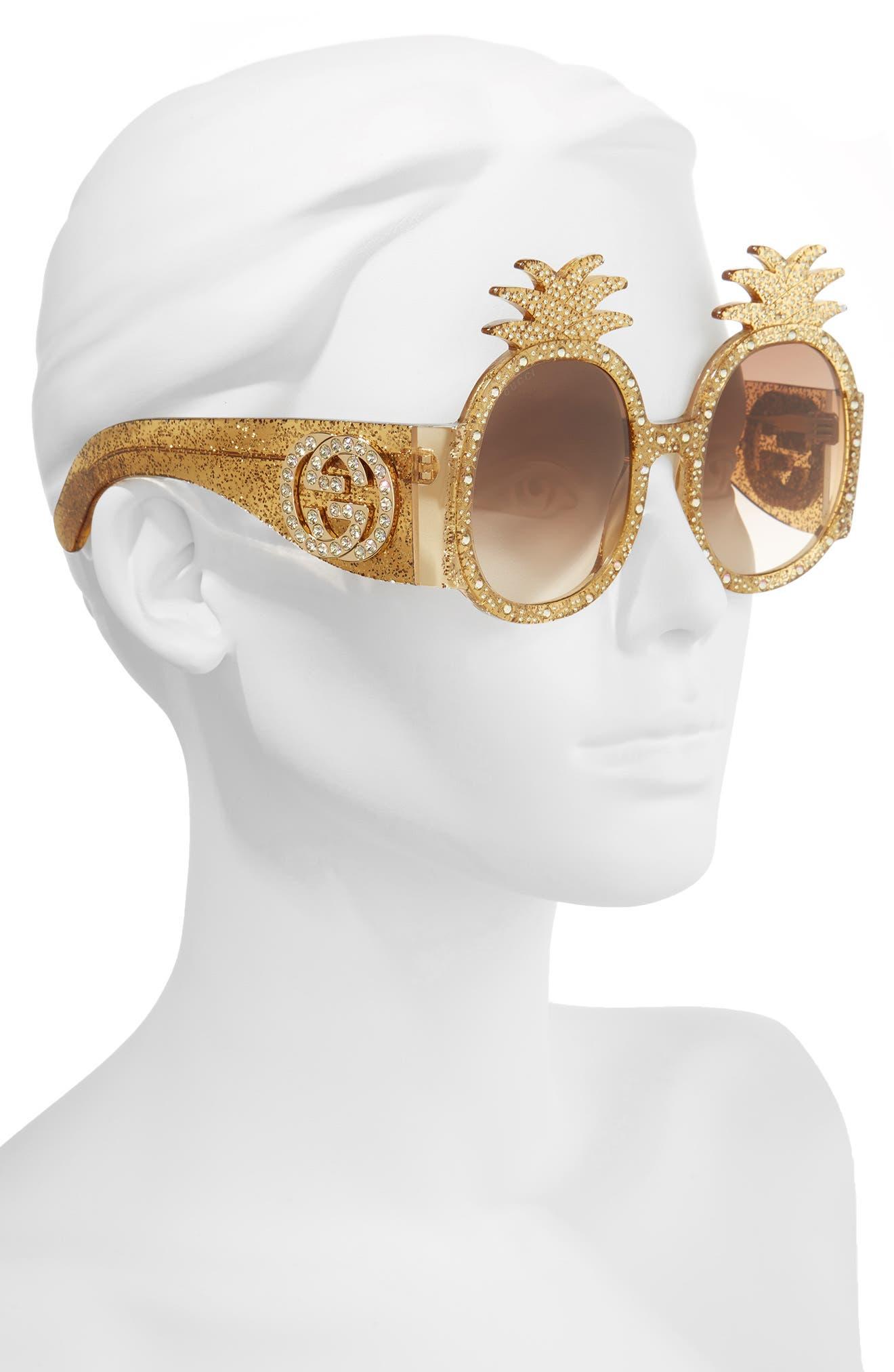 53mm Pineapple Sunglasses,                             Alternate thumbnail 3, color,                             GOLD