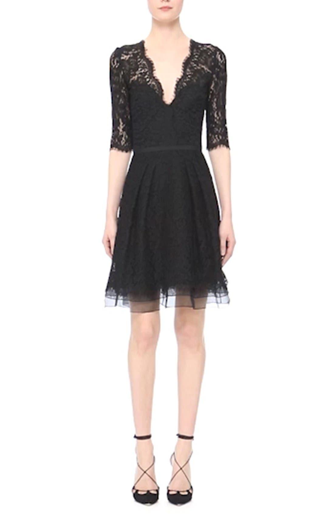 Lace A-Line Cocktail Dress,                             Alternate thumbnail 6, color,                             001