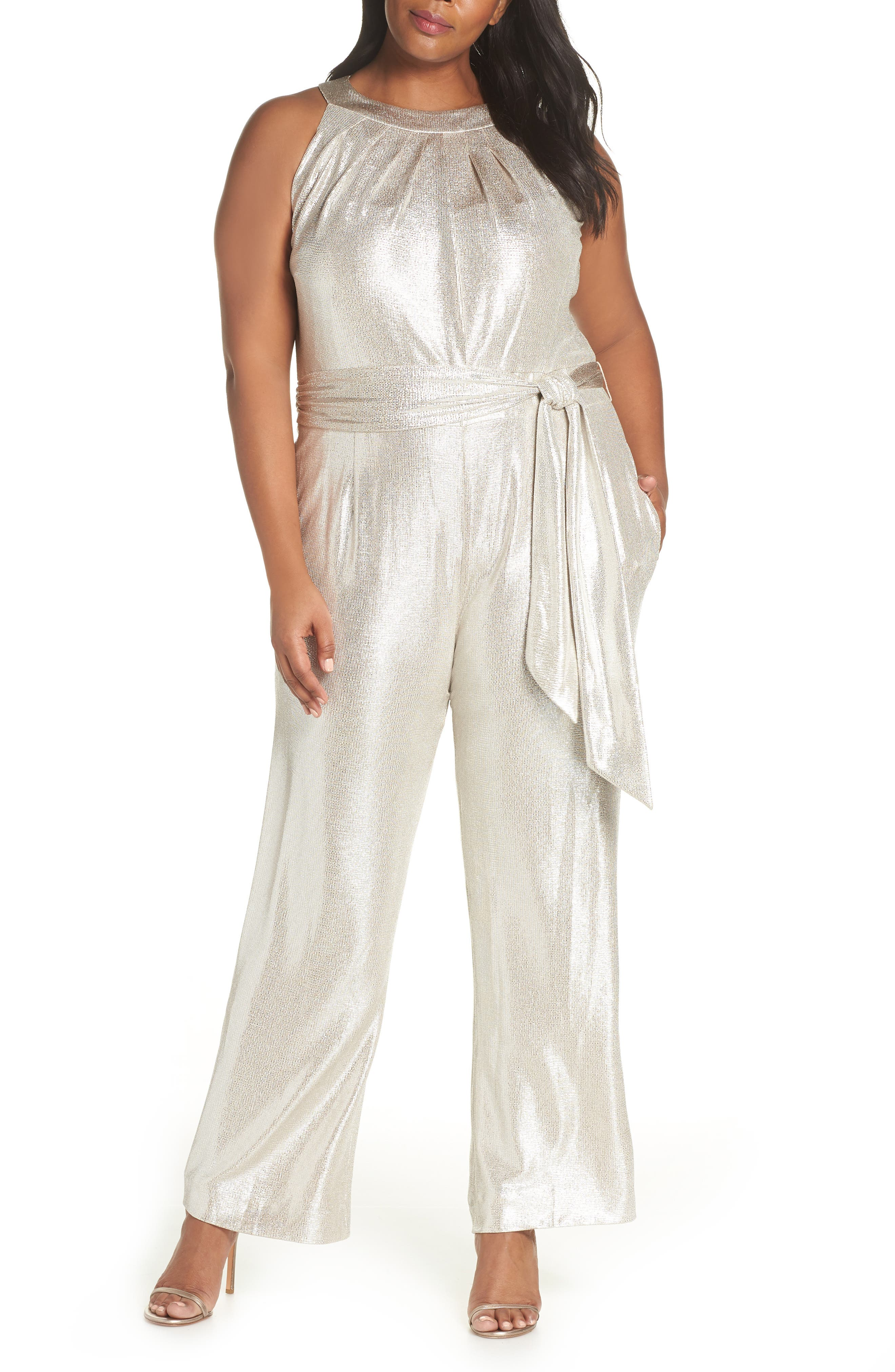 Metallic High Neck Jumpsuit,                         Main,                         color, IVORY/ SILVER