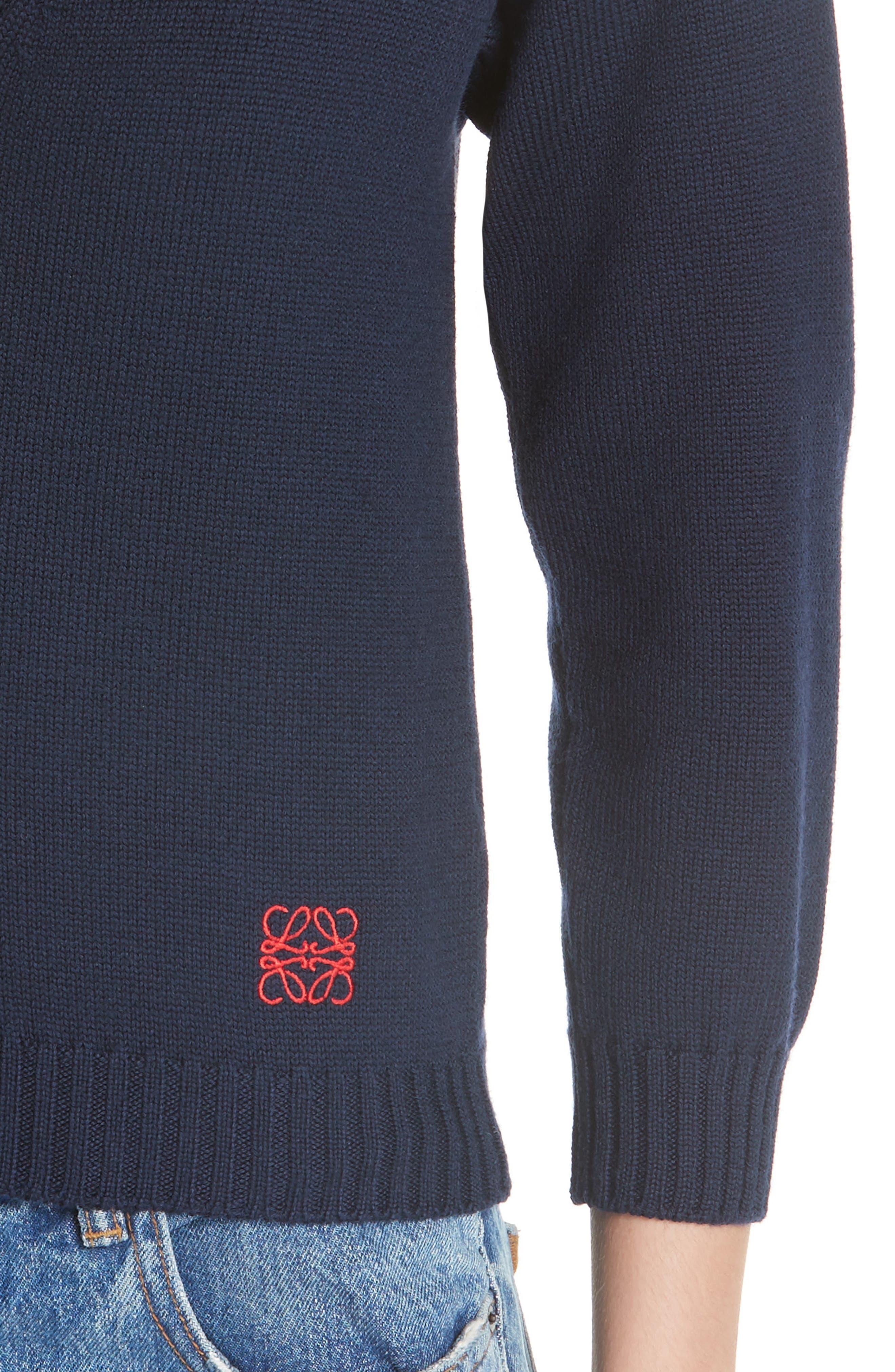 Wool Logo Cardigan,                             Alternate thumbnail 4, color,                             NAVY BLUE