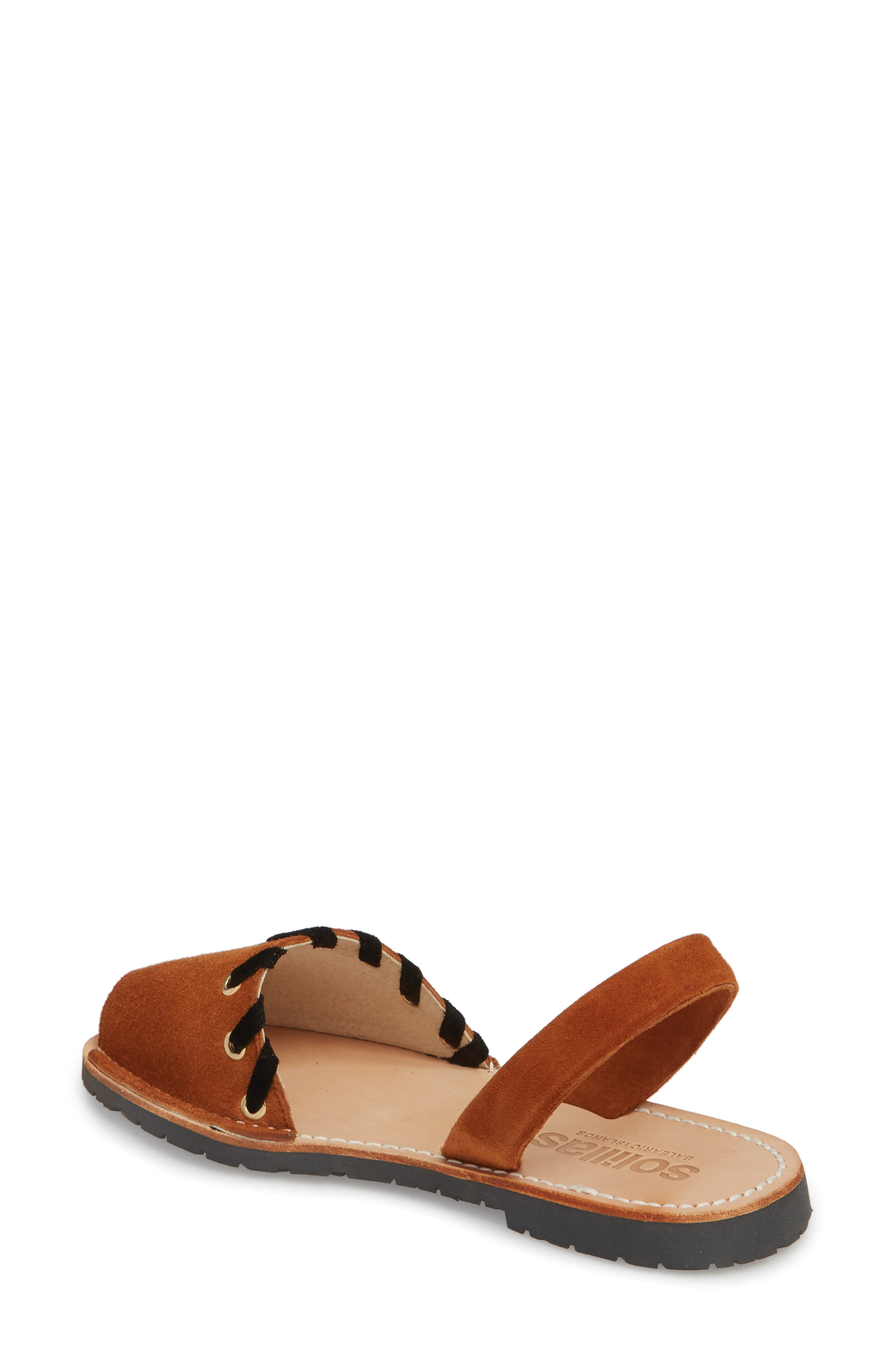 Whipstitched Flat Sandal,                             Alternate thumbnail 4, color,
