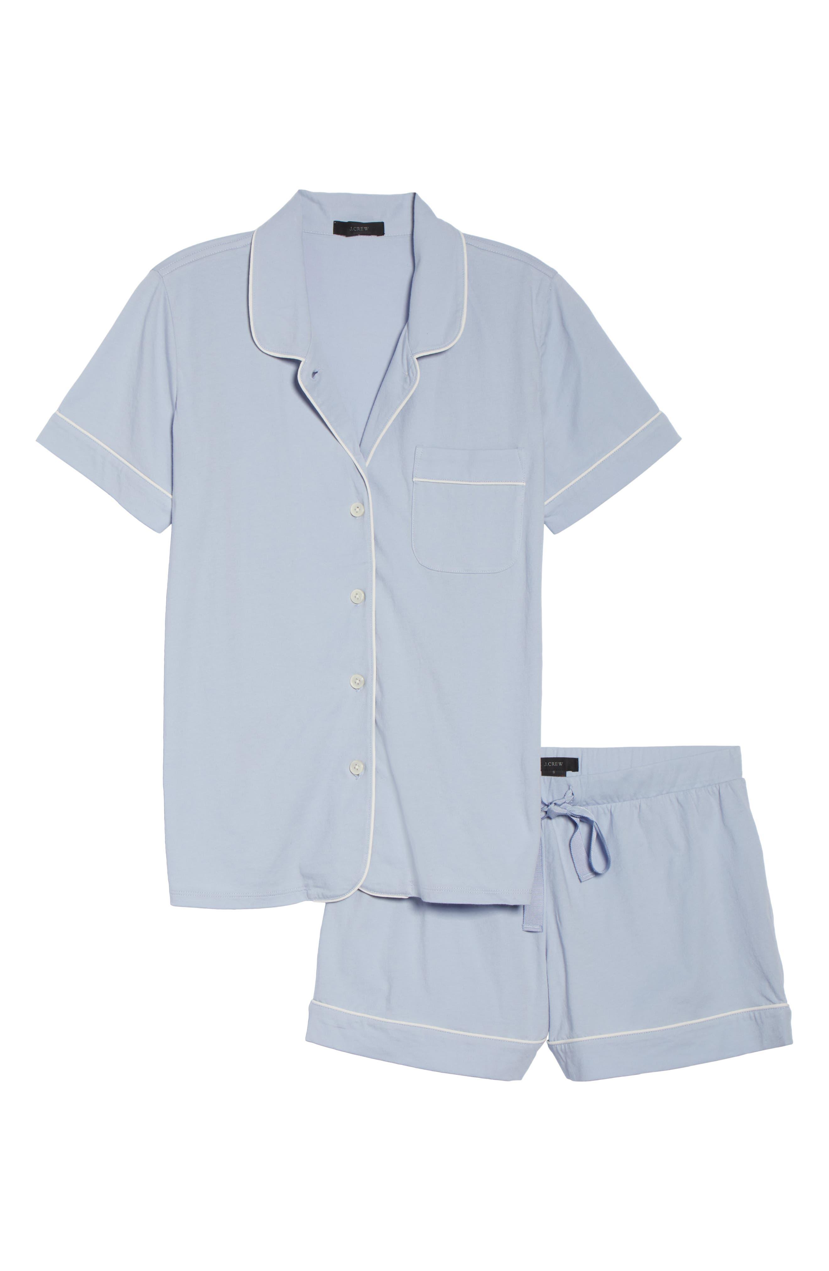 Short Sleeve Knit Pajamas,                             Alternate thumbnail 6, color,                             PERI SHADOW