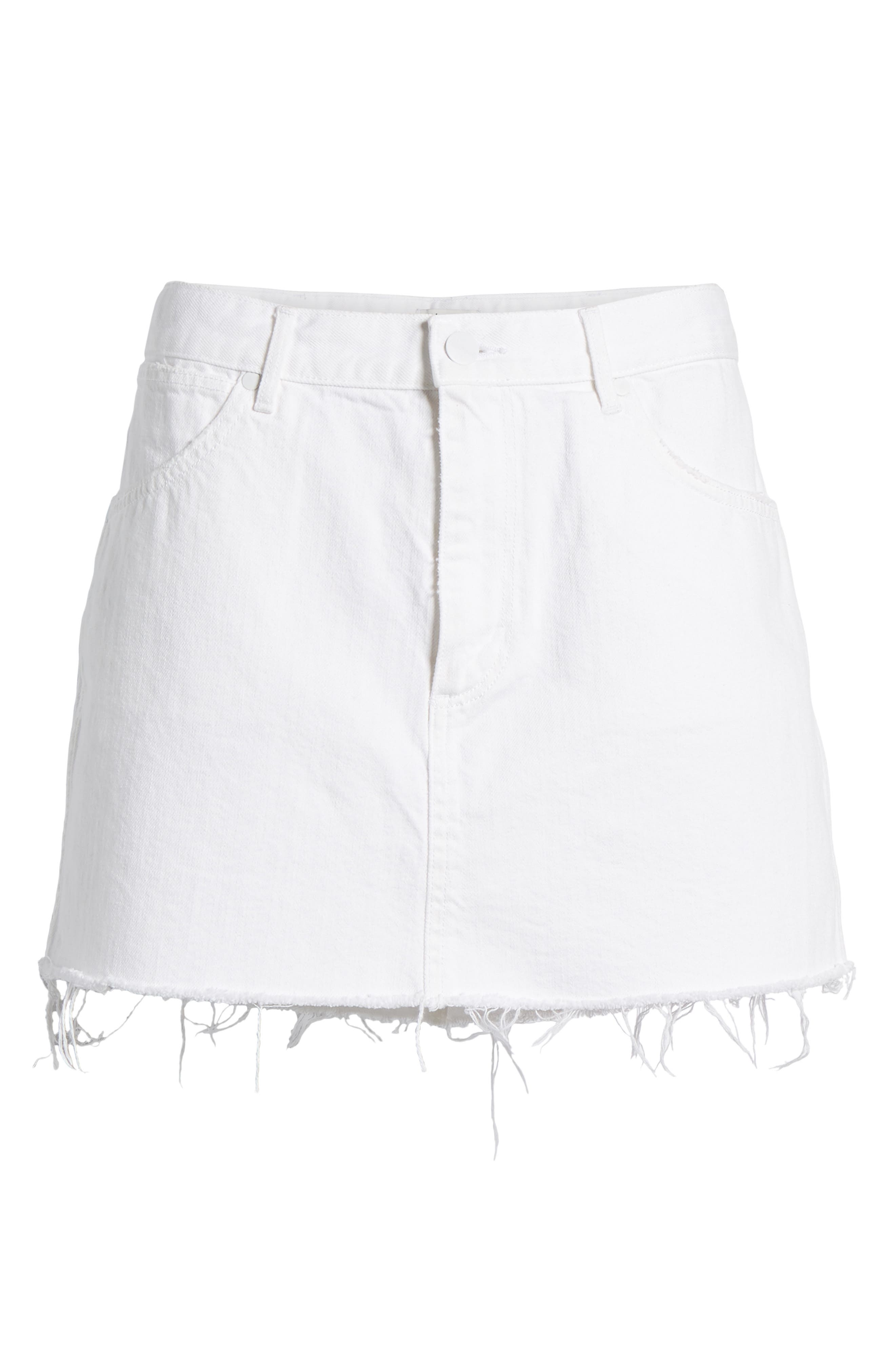 Fray Hem Denim Skirt,                             Alternate thumbnail 7, color,                             100