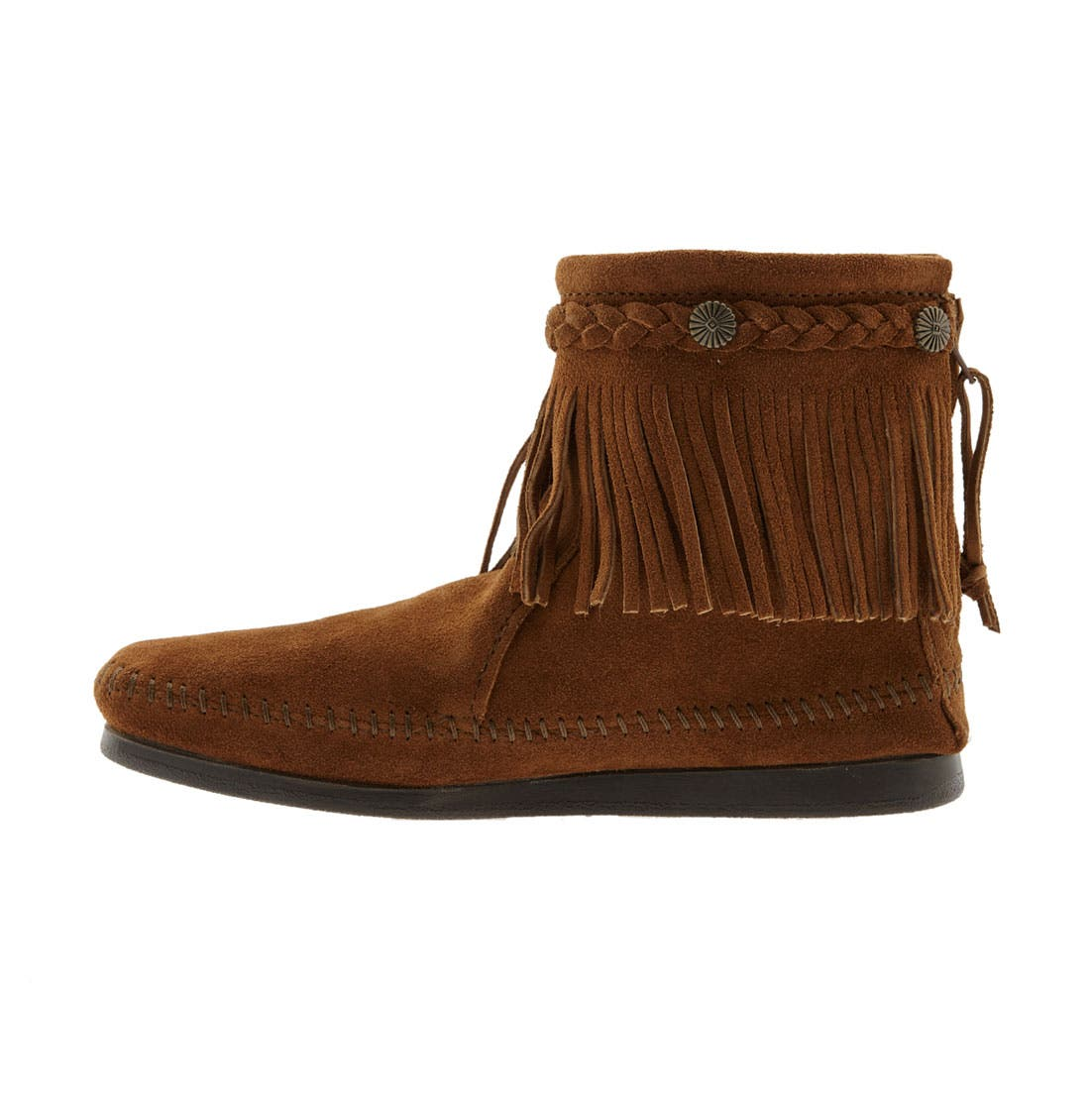 Fringed Moccasin Bootie,                             Alternate thumbnail 5, color,                             BROWN