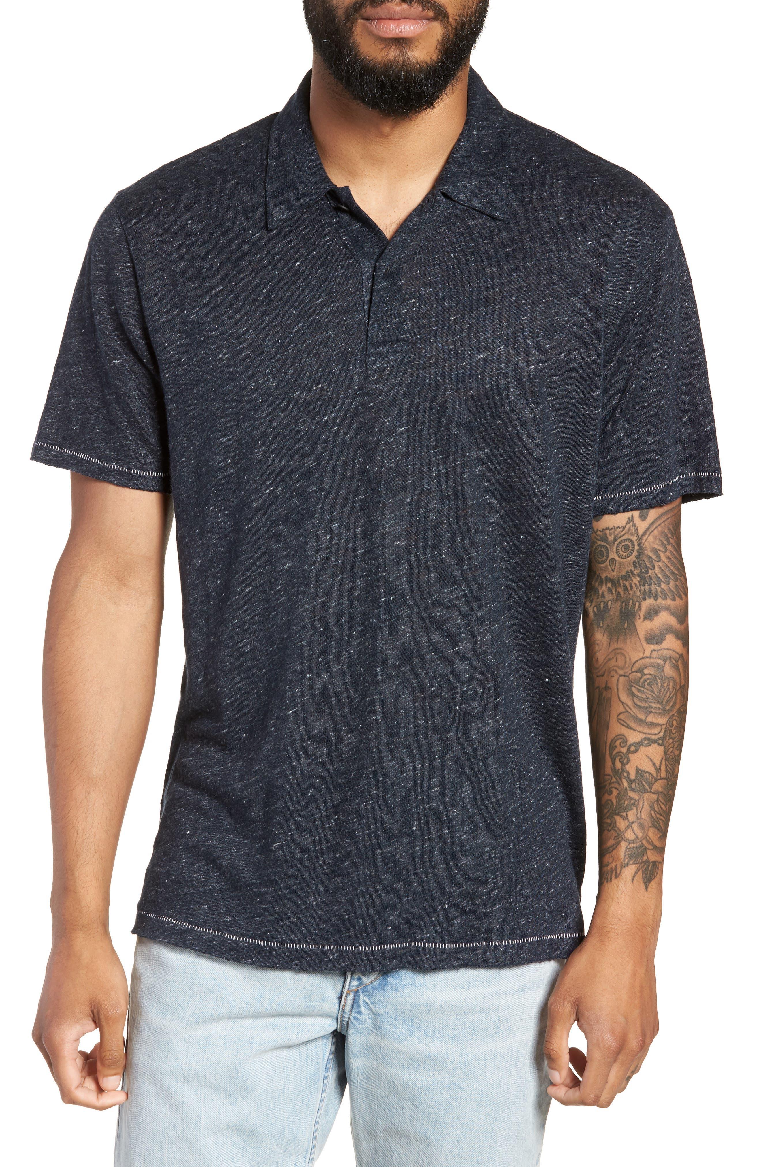 Owen Slim Fit Linen Polo Shirt,                         Main,                         color, NAVY
