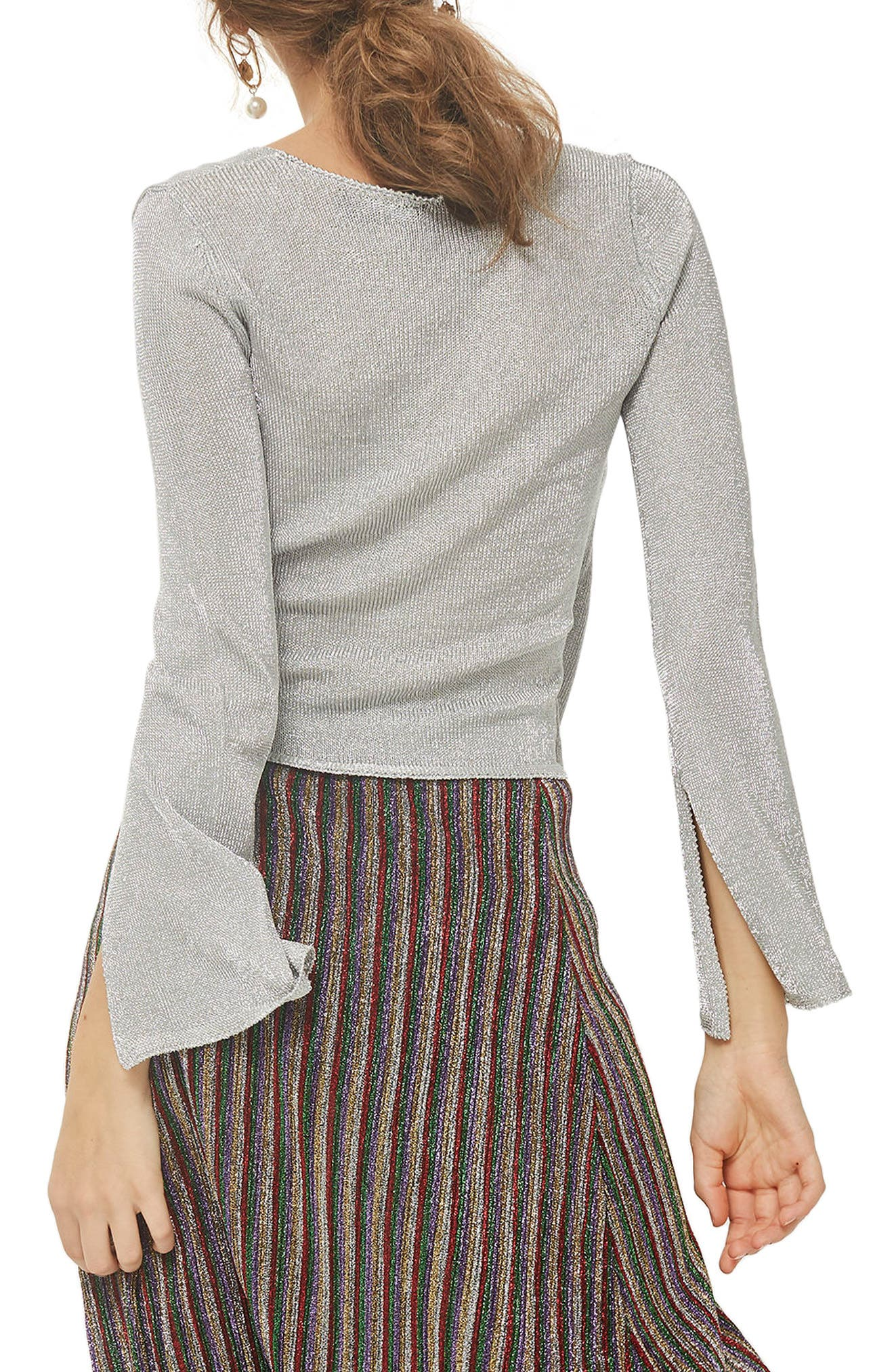 Metal Yarn Wrap Knit Top,                             Alternate thumbnail 2, color,                             040