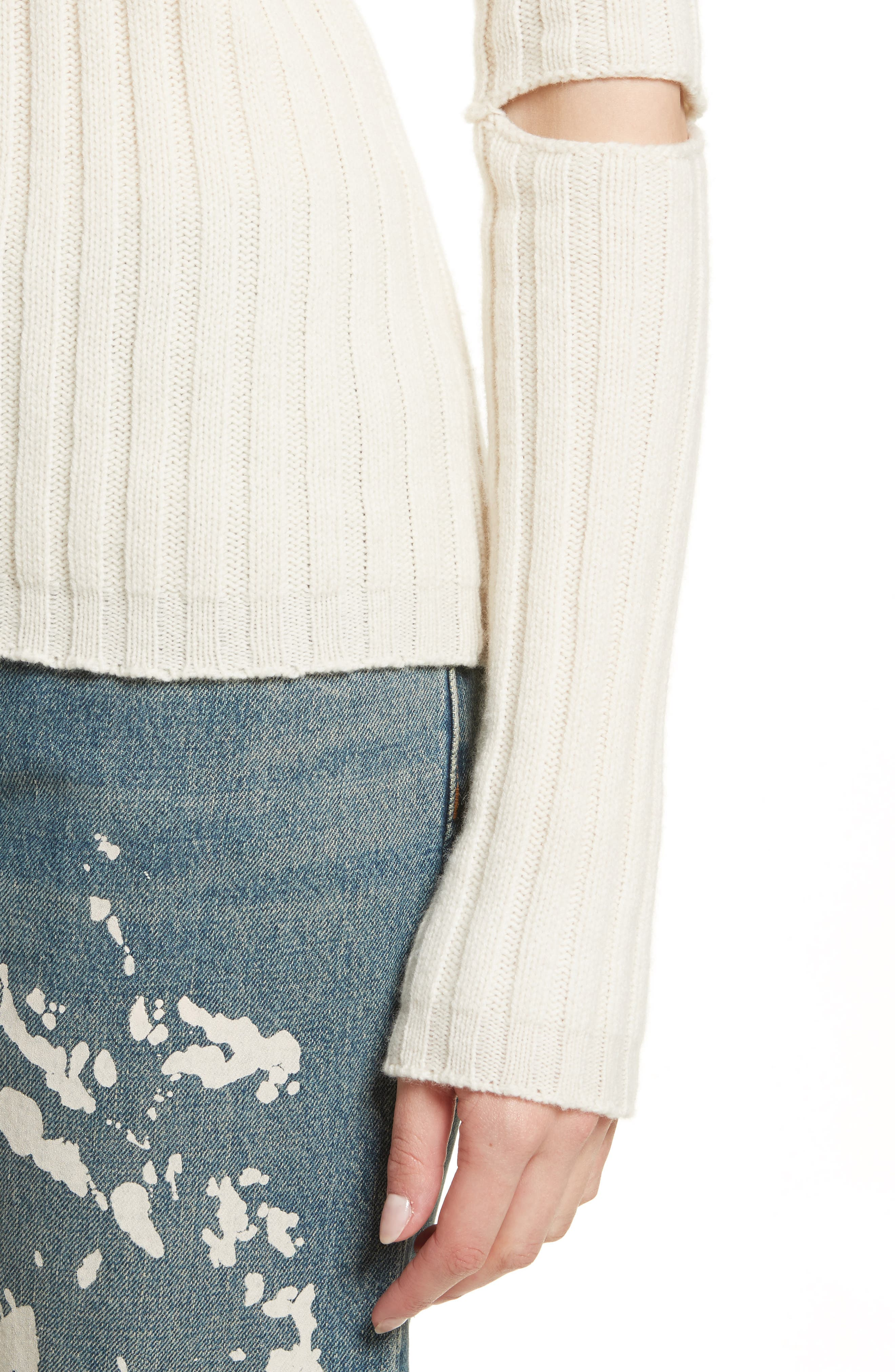 Re-Edition Elbow Cutout Lambswool Sweater,                             Alternate thumbnail 8, color,