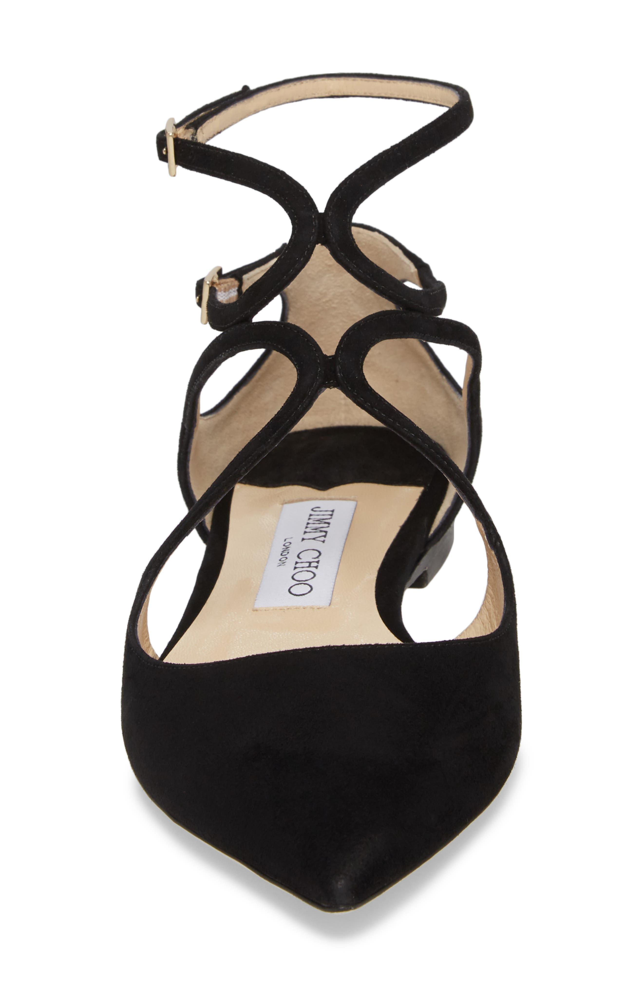 Lancer Ankle Strap Flat,                             Alternate thumbnail 4, color,                             BLACK