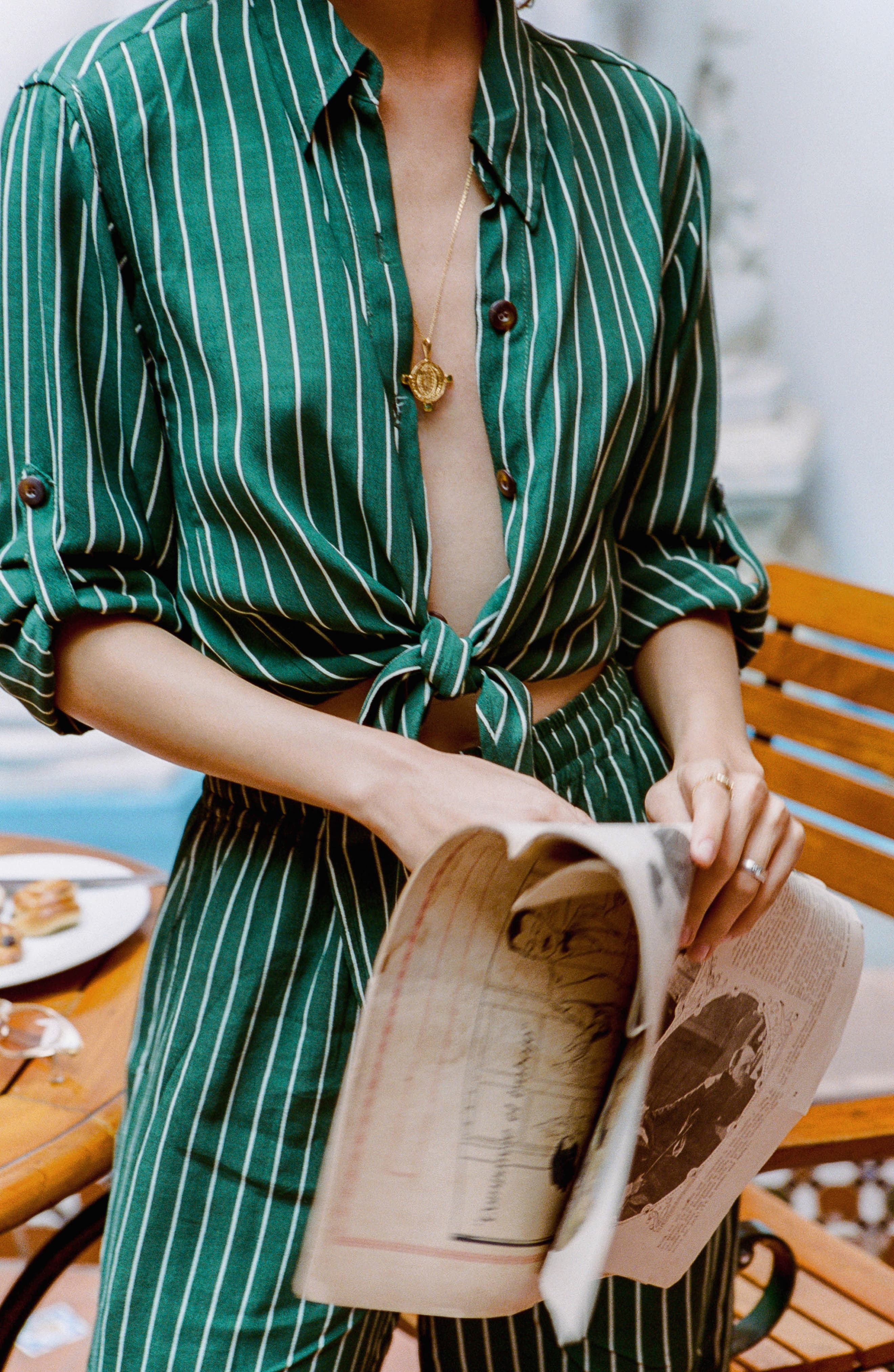 Beau Rivage Stripe Tie Shirt,                             Alternate thumbnail 5, color,                             300