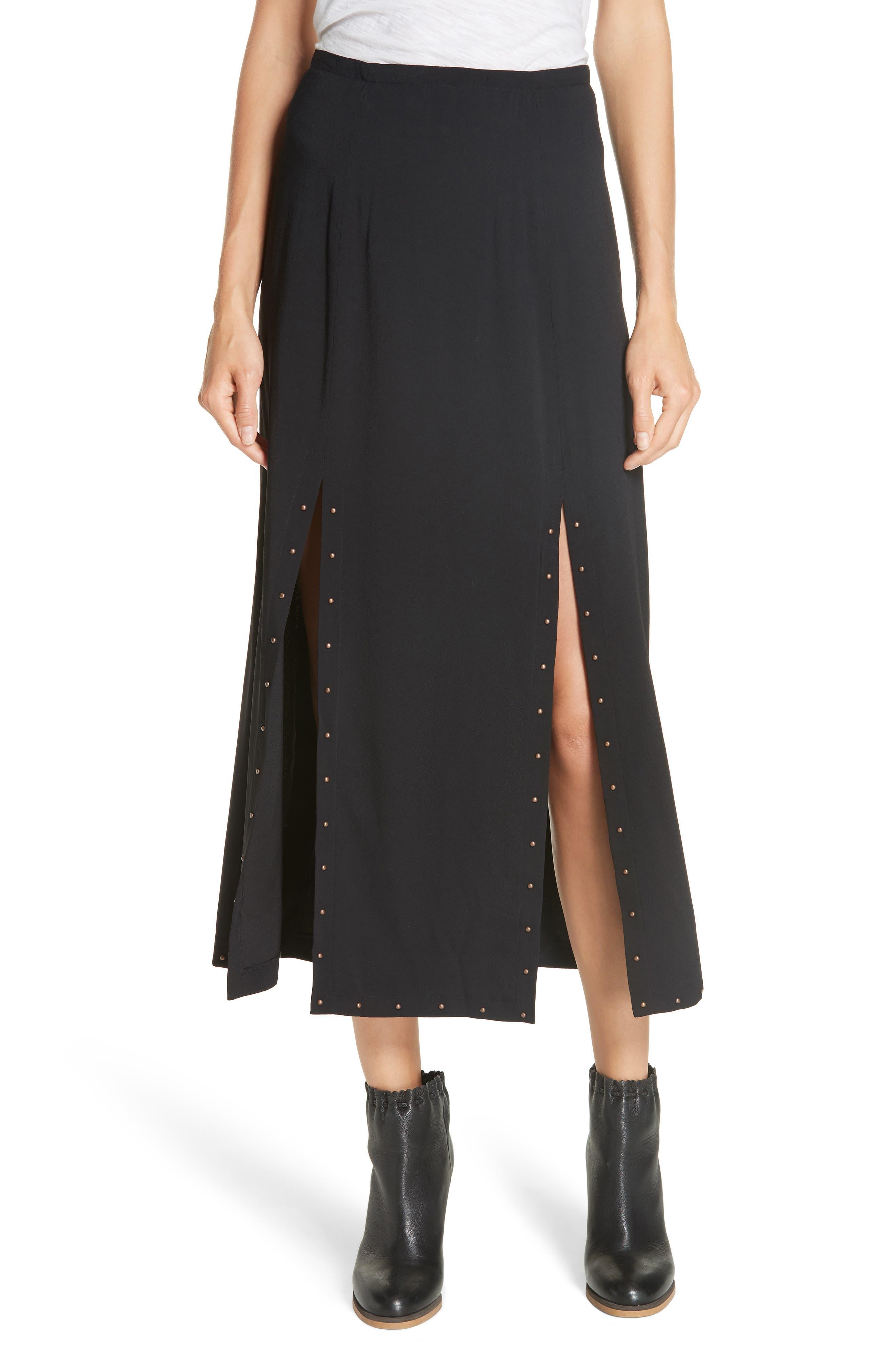Slit Detail Midi Skirt,                             Main thumbnail 1, color,                             BLACK