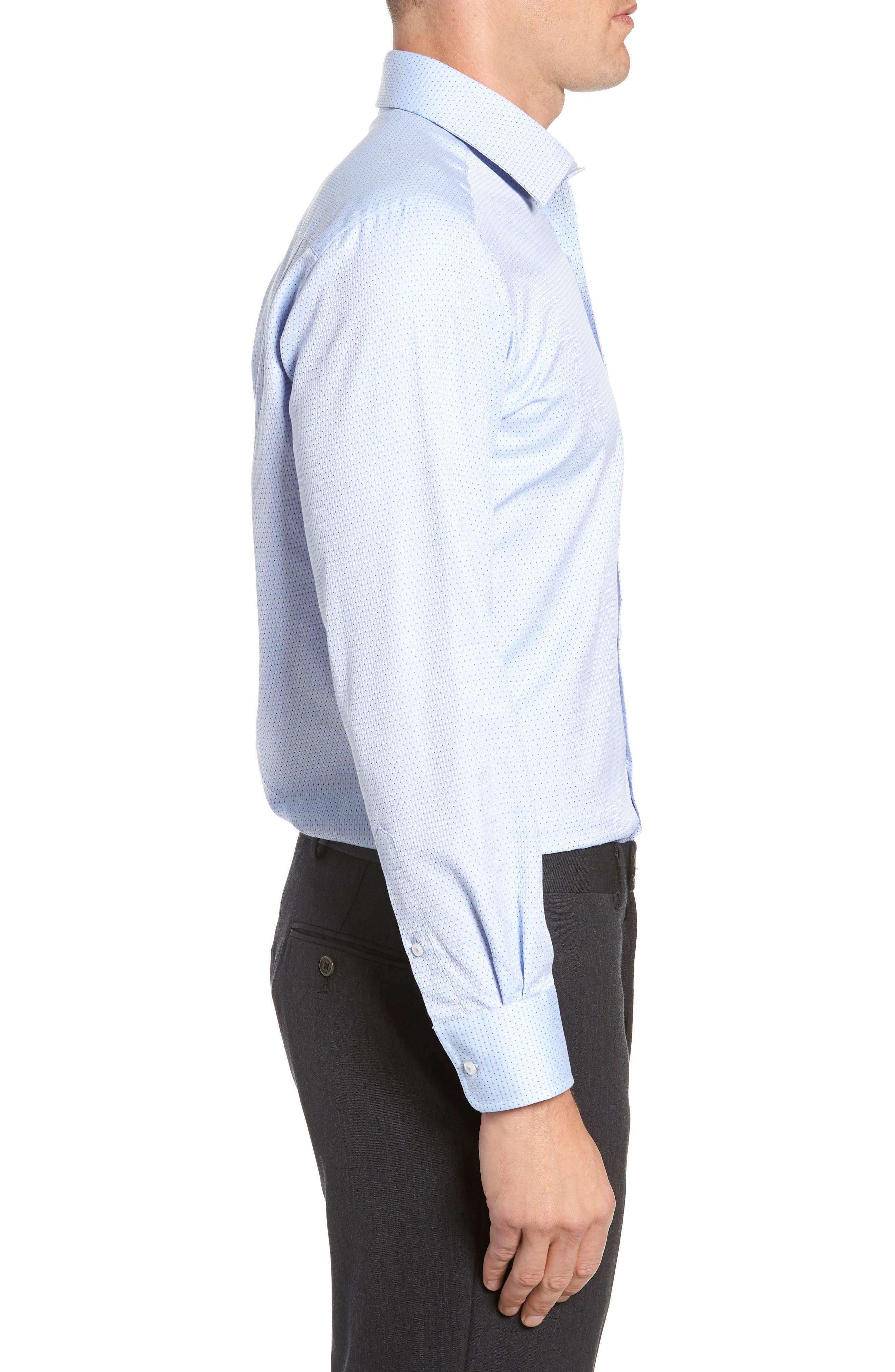 Trim Fit Check Dress Shirt,                             Alternate thumbnail 4, color,                             SKY/ NAVY