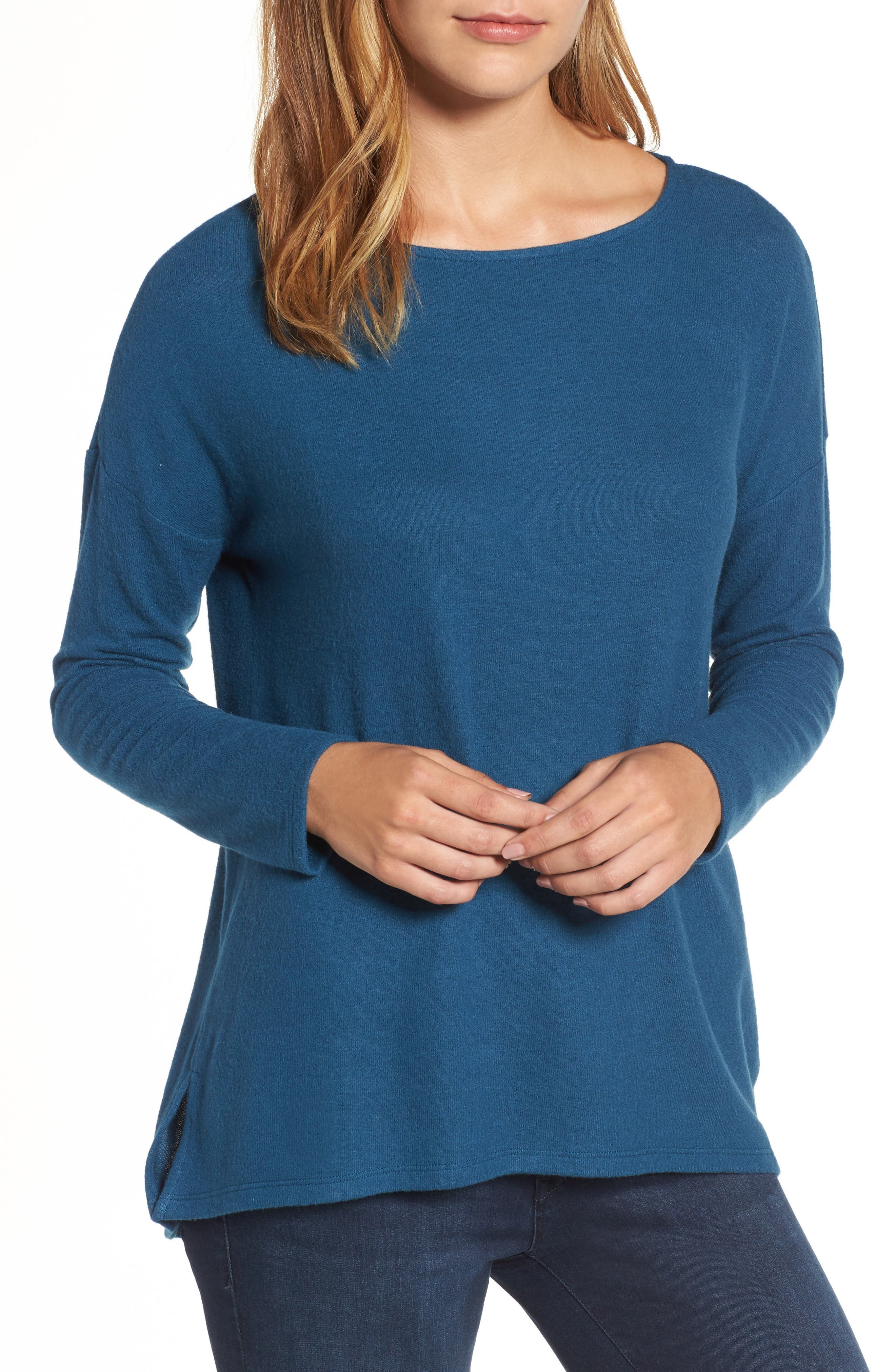 Cozy Ballet Neck High/Low Pullover,                             Main thumbnail 3, color,
